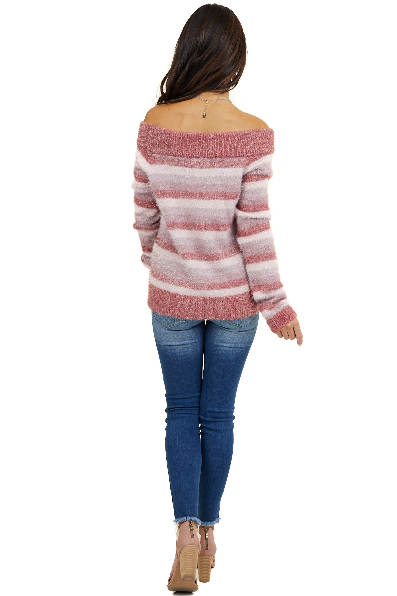 Pink Striped Off Shoulder Knit Sweater with Sparkle Detail