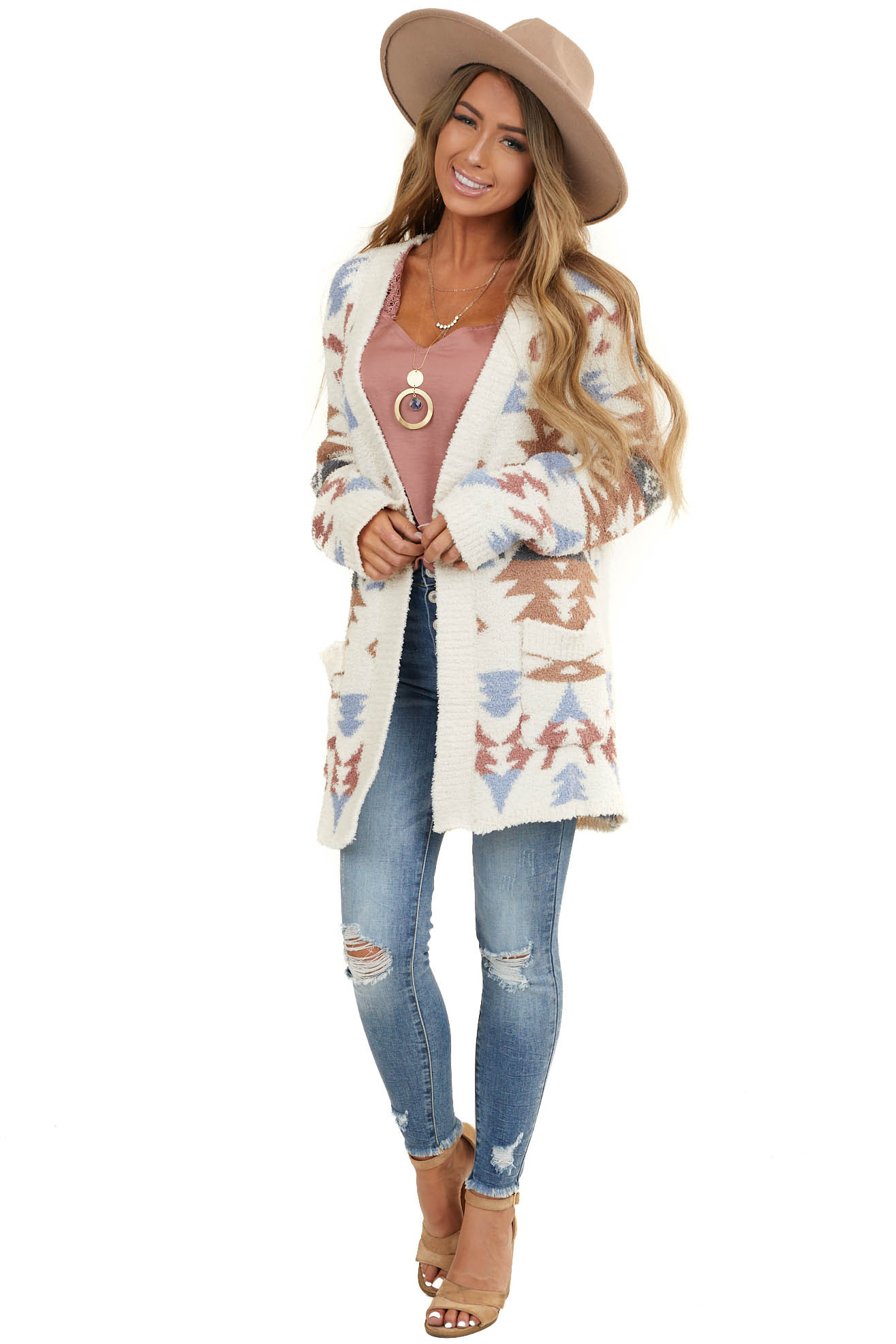 Ivory and Multicolor Aztec Print Long Sleeve Cardigan