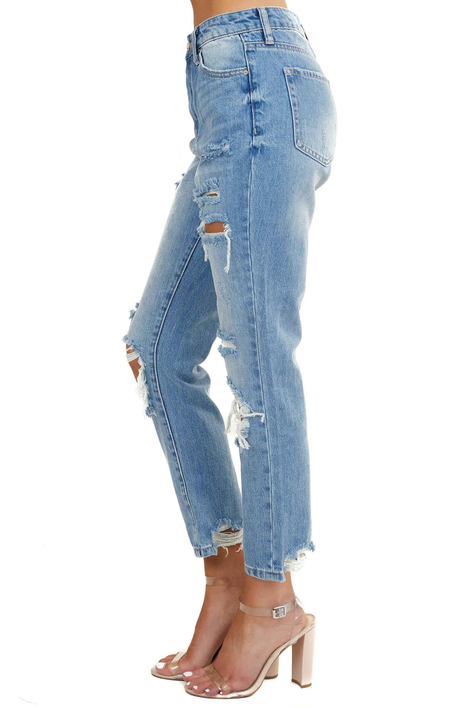 Mid Wash High Rise Ankle Cut Distressed Straight Leg Jeans