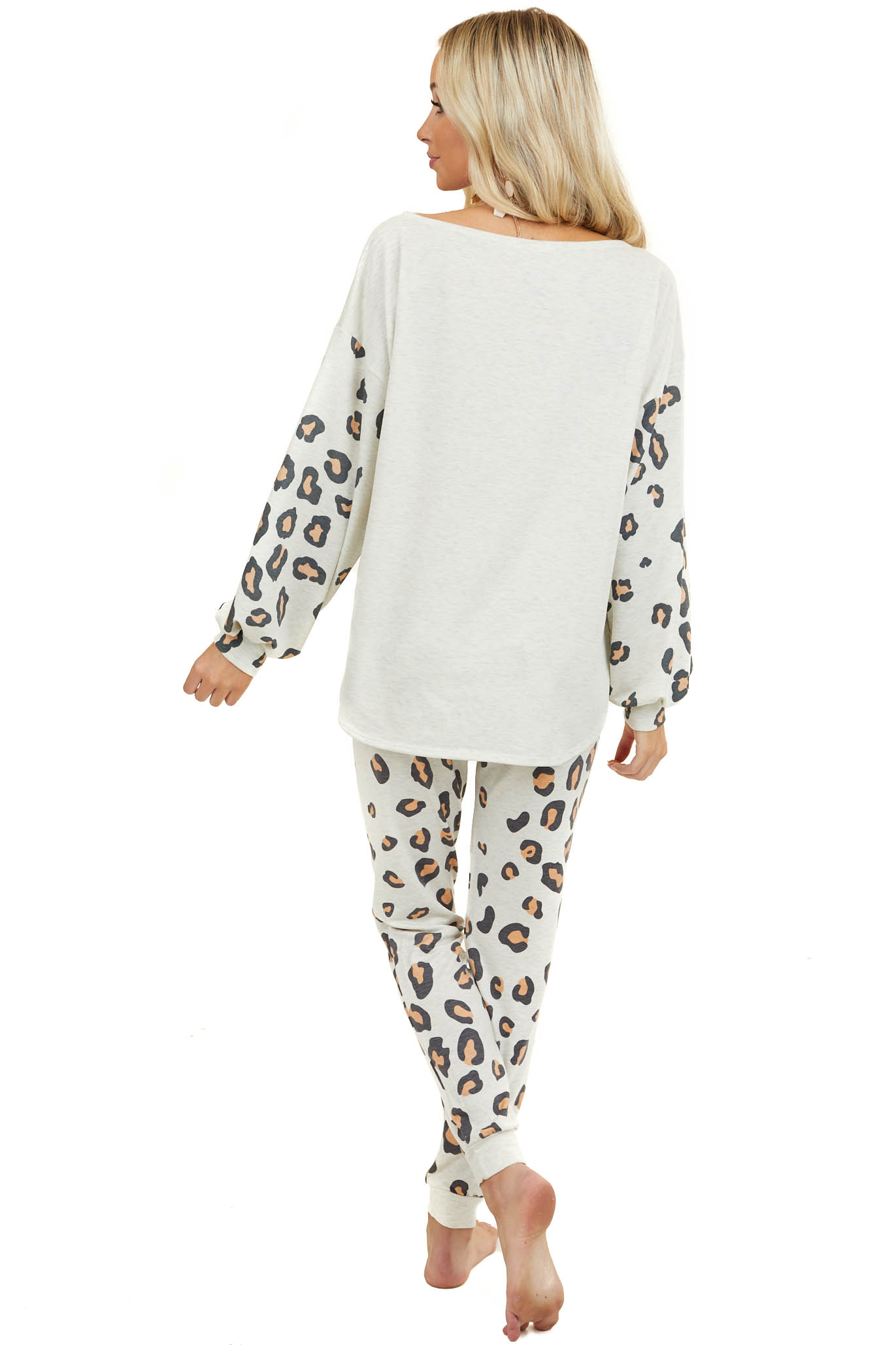 Heathered Cream Knit Top with Long Leopard Print Sleeves