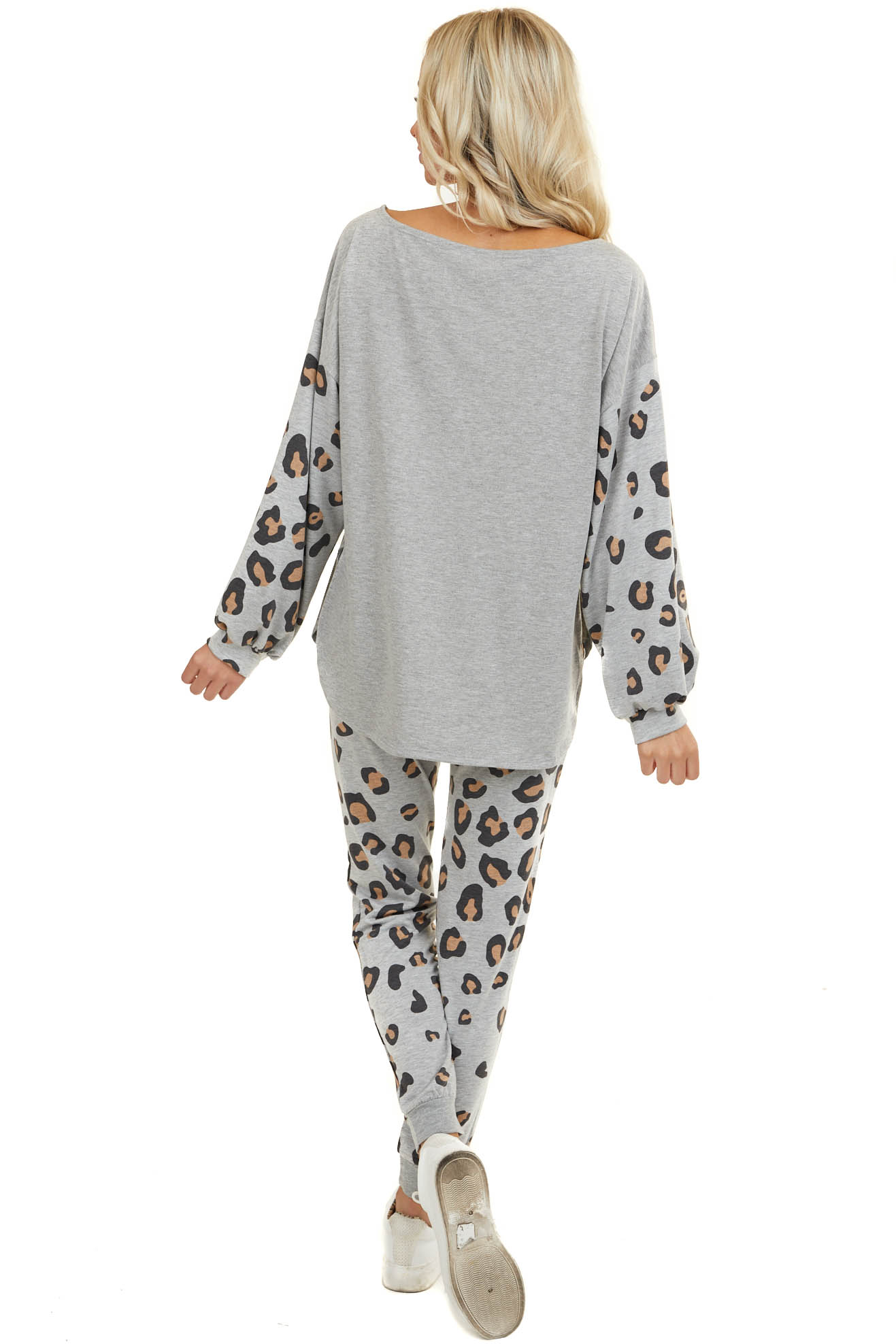Heathered Grey Knit Top with Long Leopard Print Sleeves