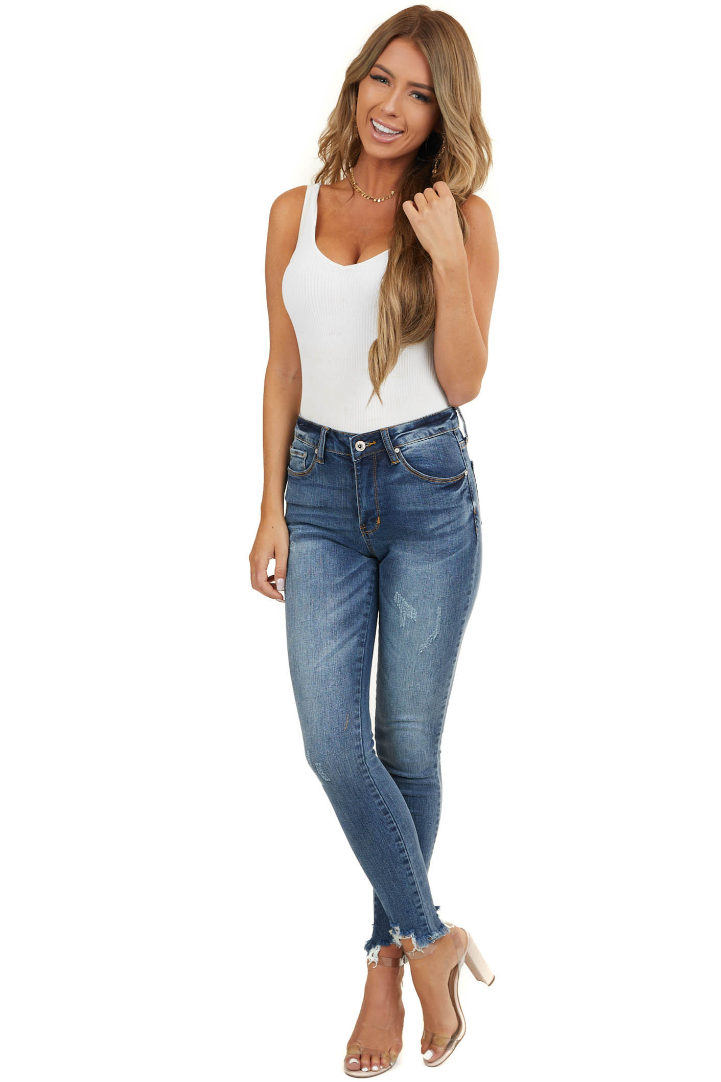Dark Wash Mid Rise Ankle Cut Jeans with Distressed Hemline