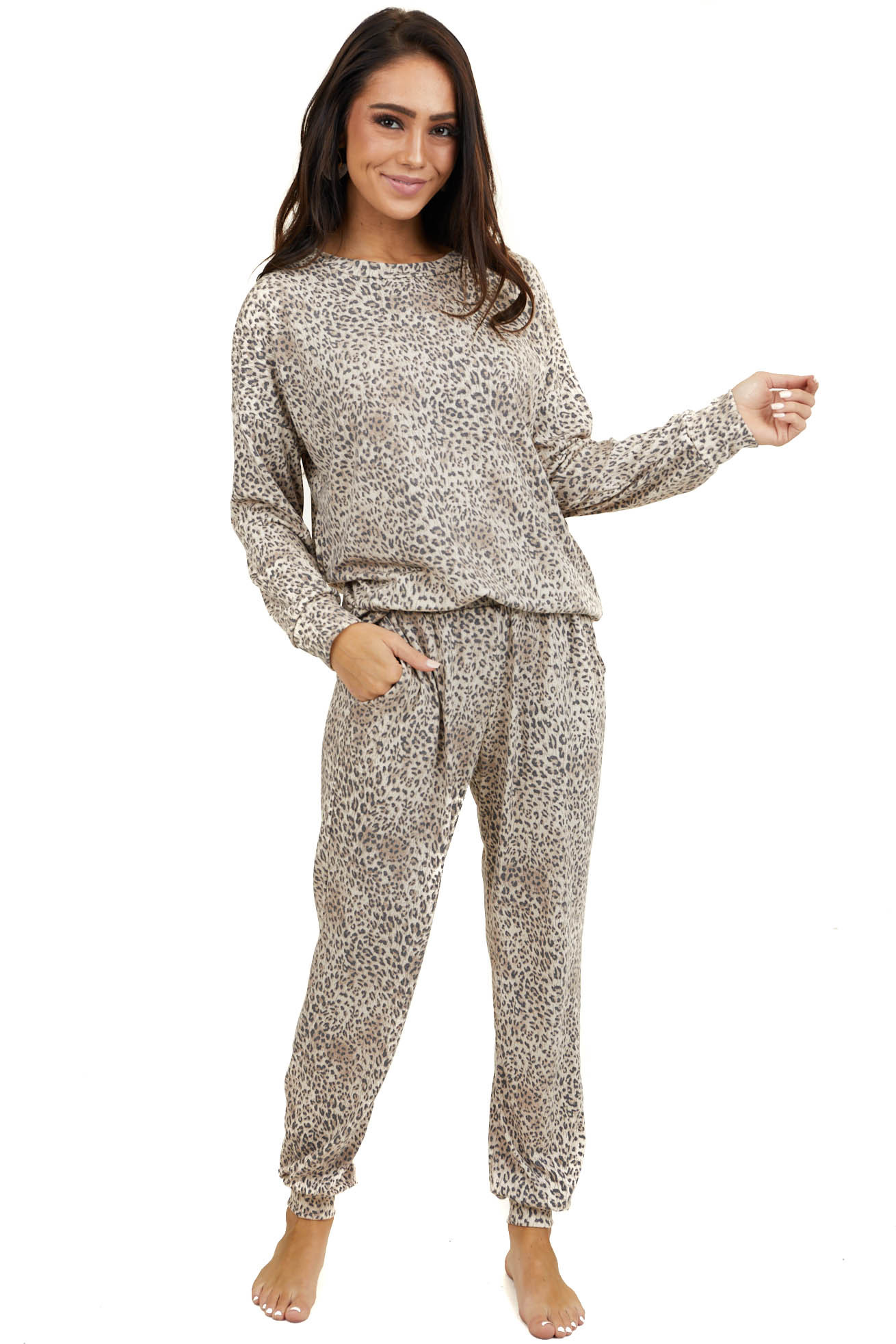 Latte Leopard Print Knit Top and Sweatpants Two Piece Set