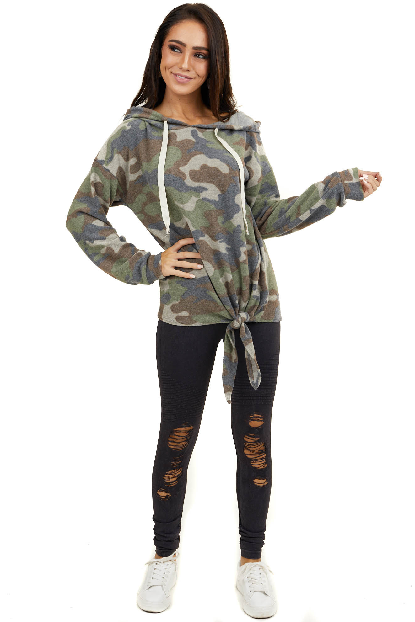 Sage Green Camo Super Soft Knit Hoodie with Side Tie Detail