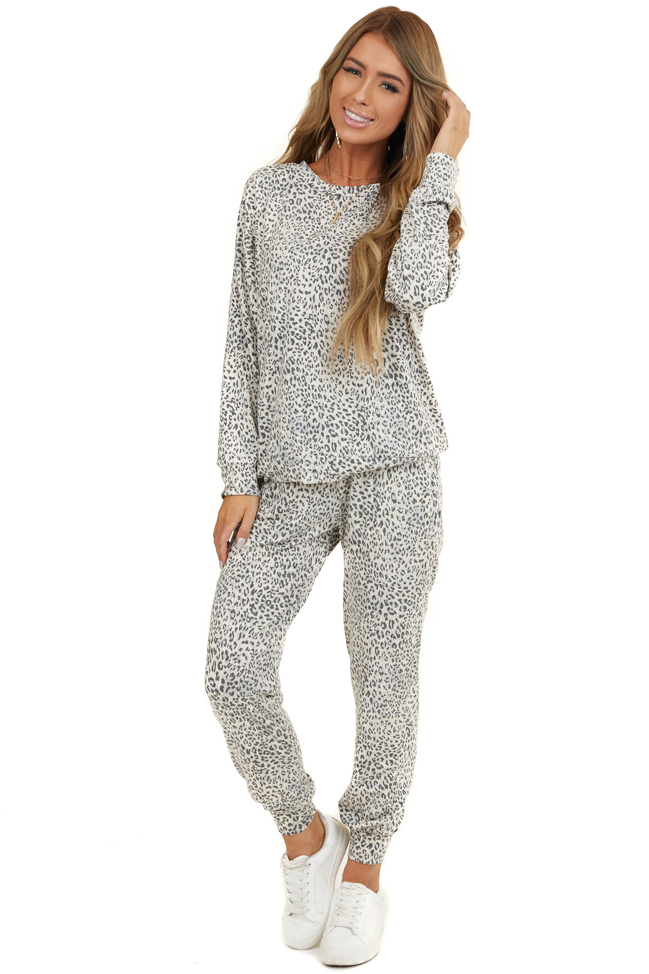Ivory Leopard Print Knit Top and Sweatpants Two Piece Set