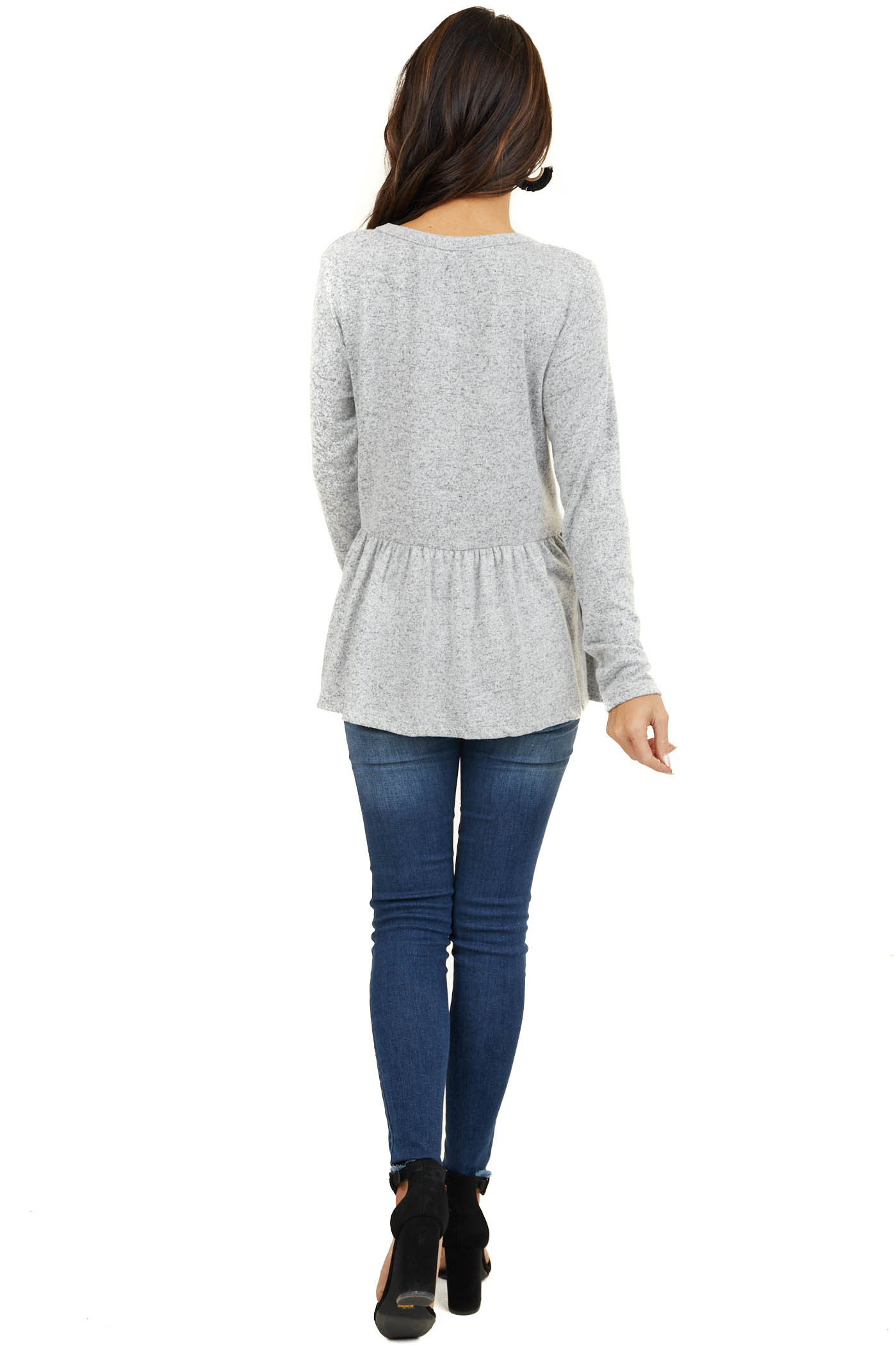 Heathered Grey Soft Knit Peplum Top with Long Sleeves