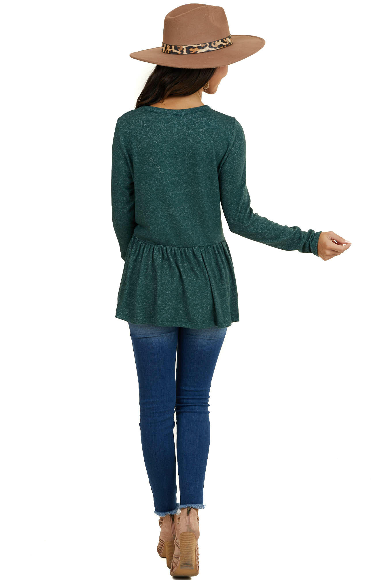 Heathered Pine Green Soft Knit Peplum Top with Long Sleeves