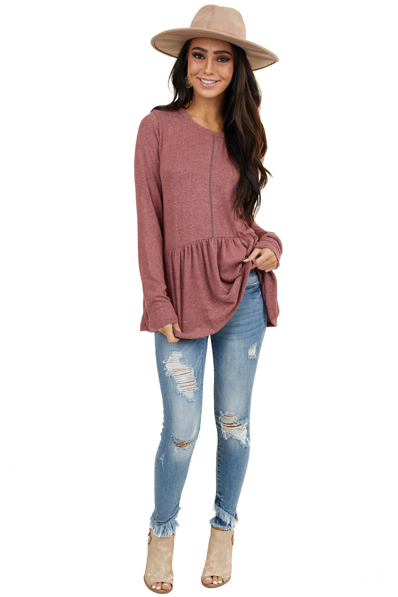 Heathered Mauve Soft Knit Peplum Top with Long Sleeves