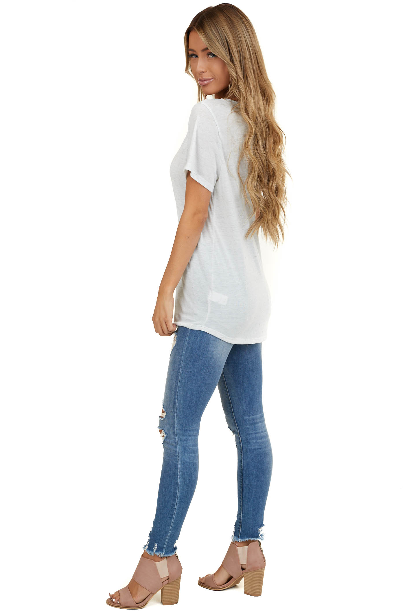 Heathered Eggshell White Knit Top with Caged Neckline Detail