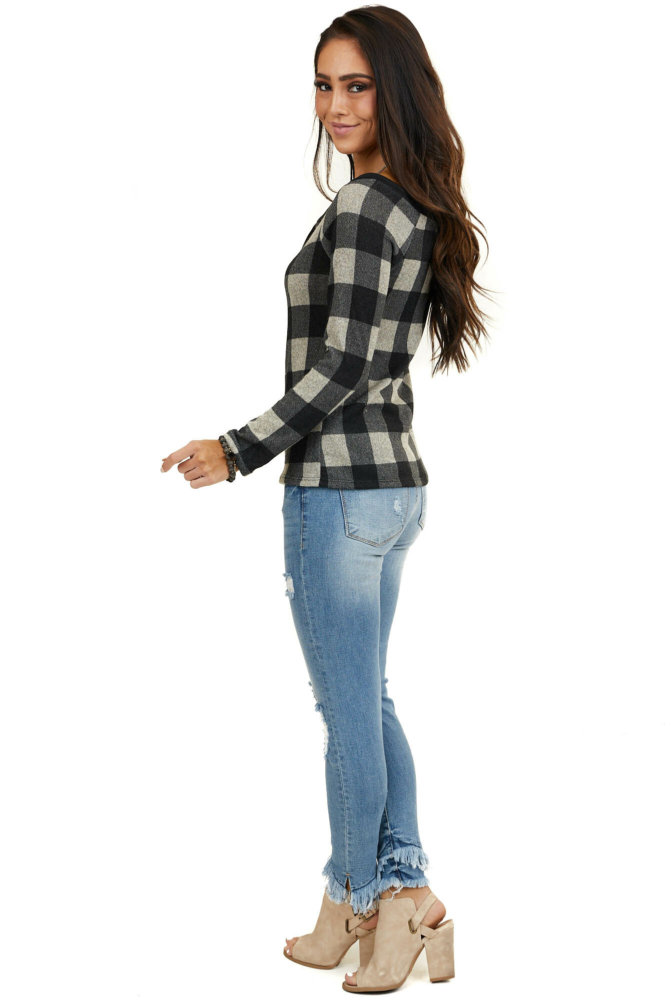 Black and Grey Plaid Button Down Knit Top with Long Sleeves