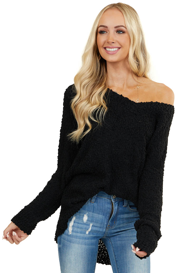 Black V Neck Textured Sweater with Long Sleeves