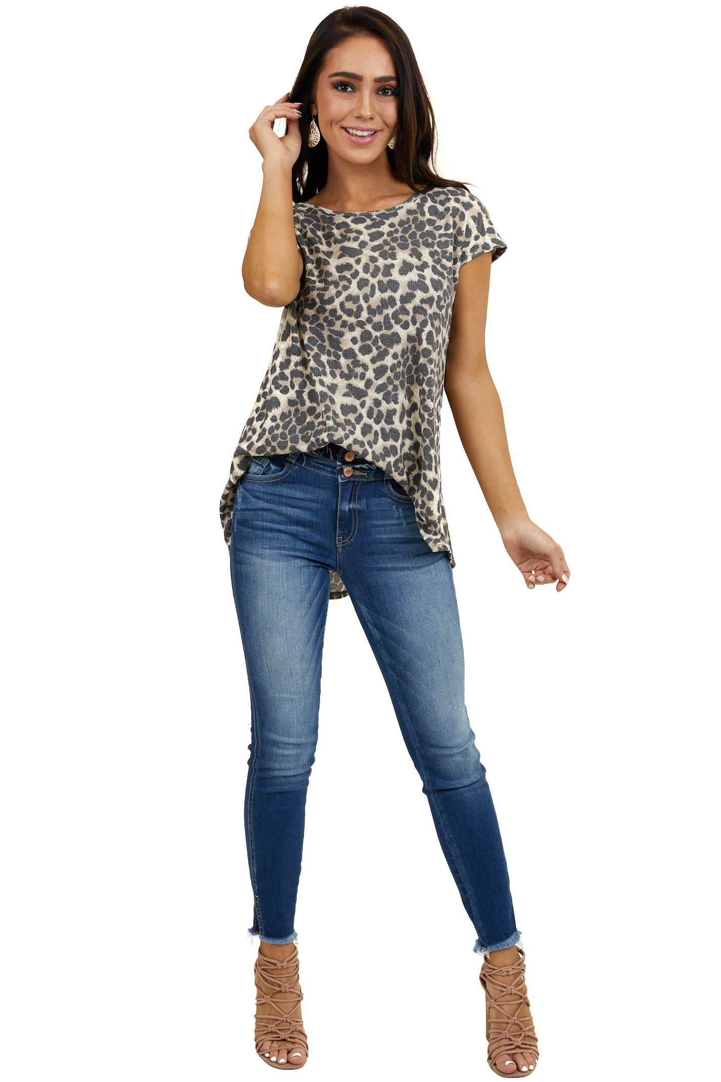 Latte Leopard Print Waffle Knit Top with Back Button Detail