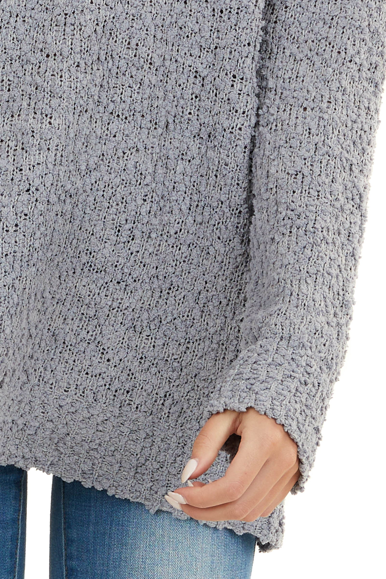 Dove Grey V Neck Textured Sweater with Long Sleeves