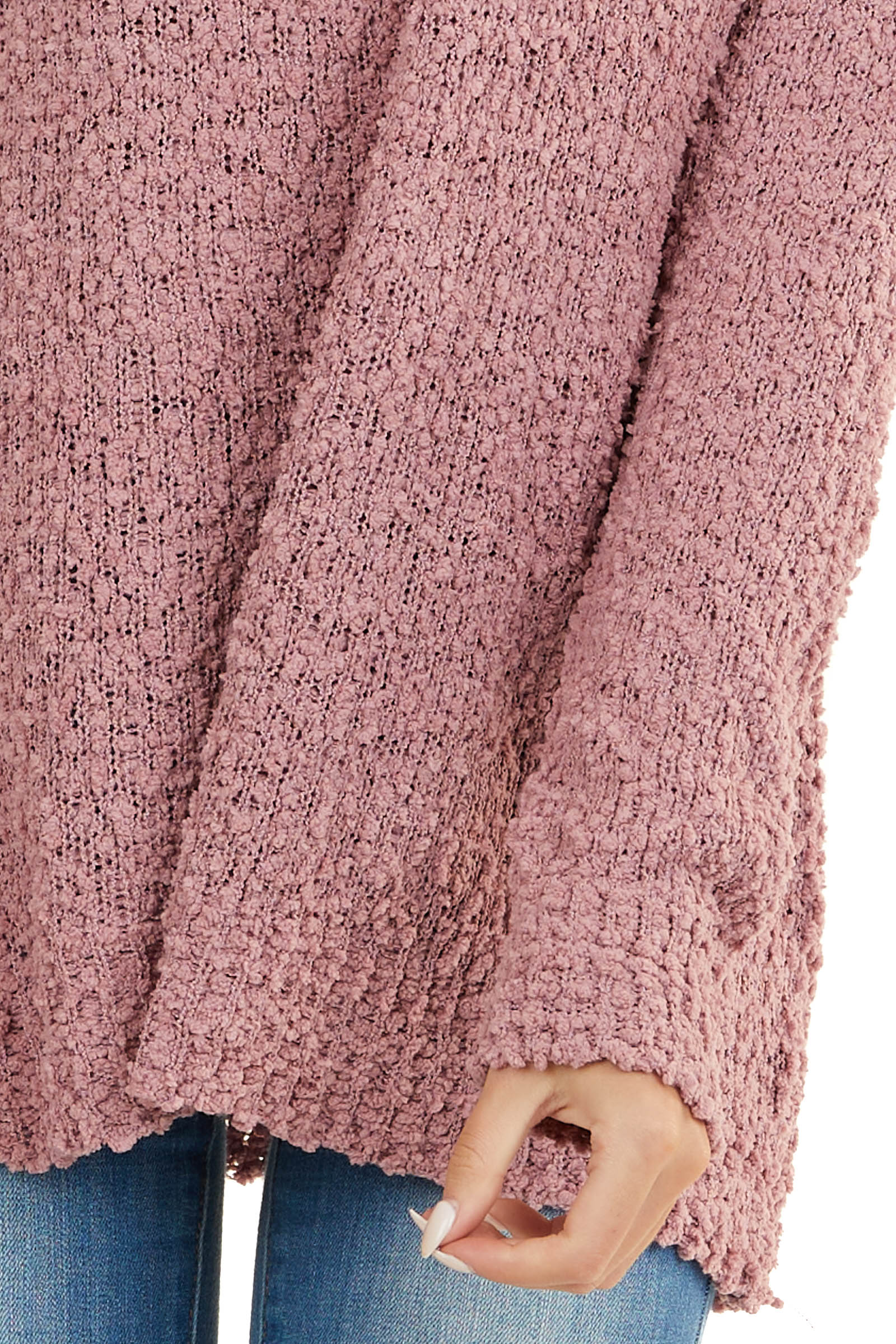 Dusty Mauve V Neck Textured Sweater with Long Sleeves