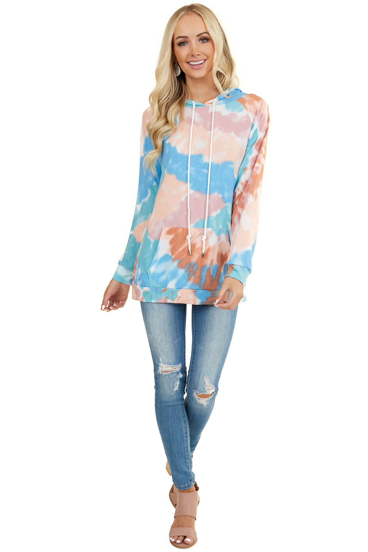 Multicolor Tie Dye Knit Hooded Top with Long Sleeves