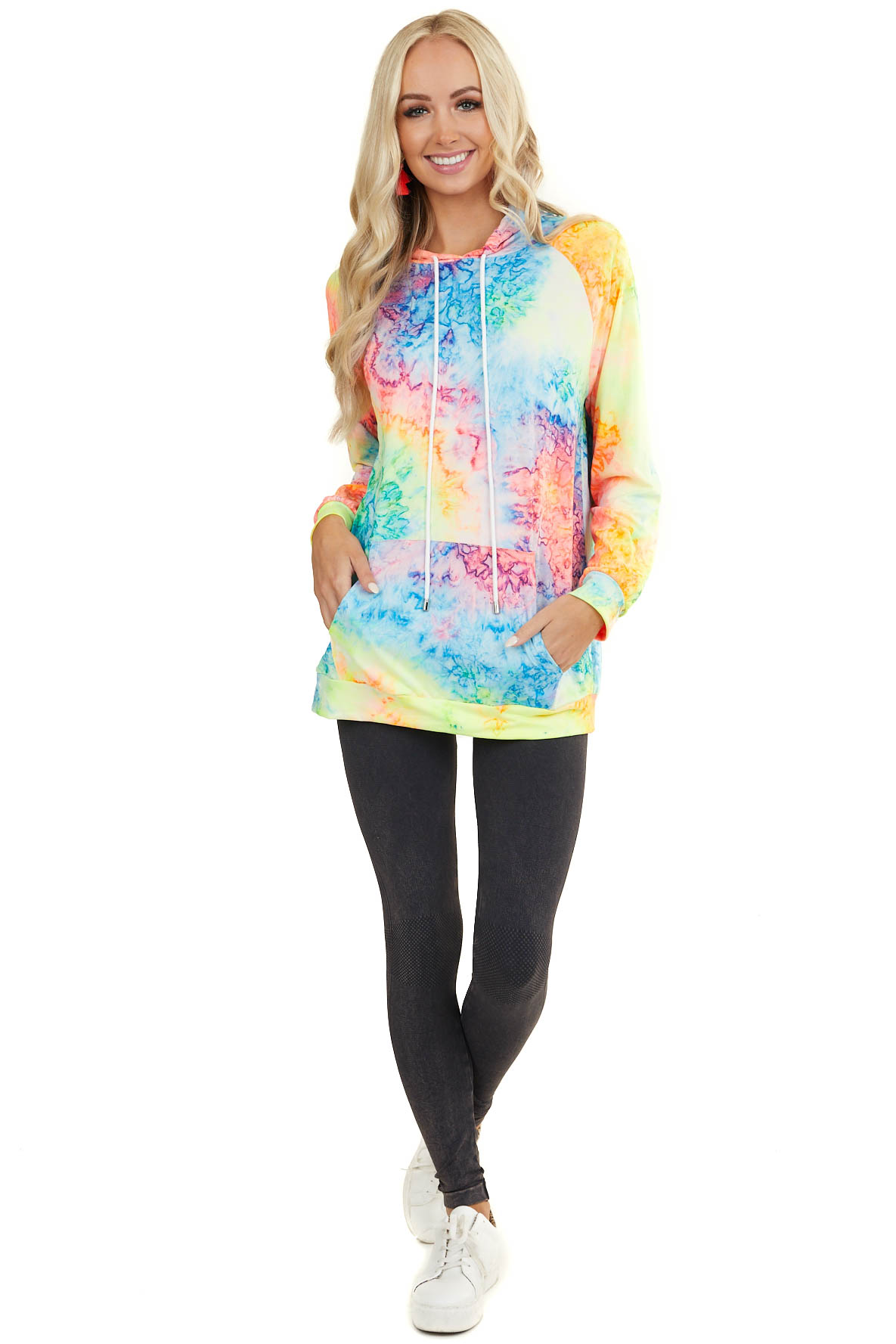 Rainbow Tie Dye Jersey Knit Hooded Top with Long Sleeves