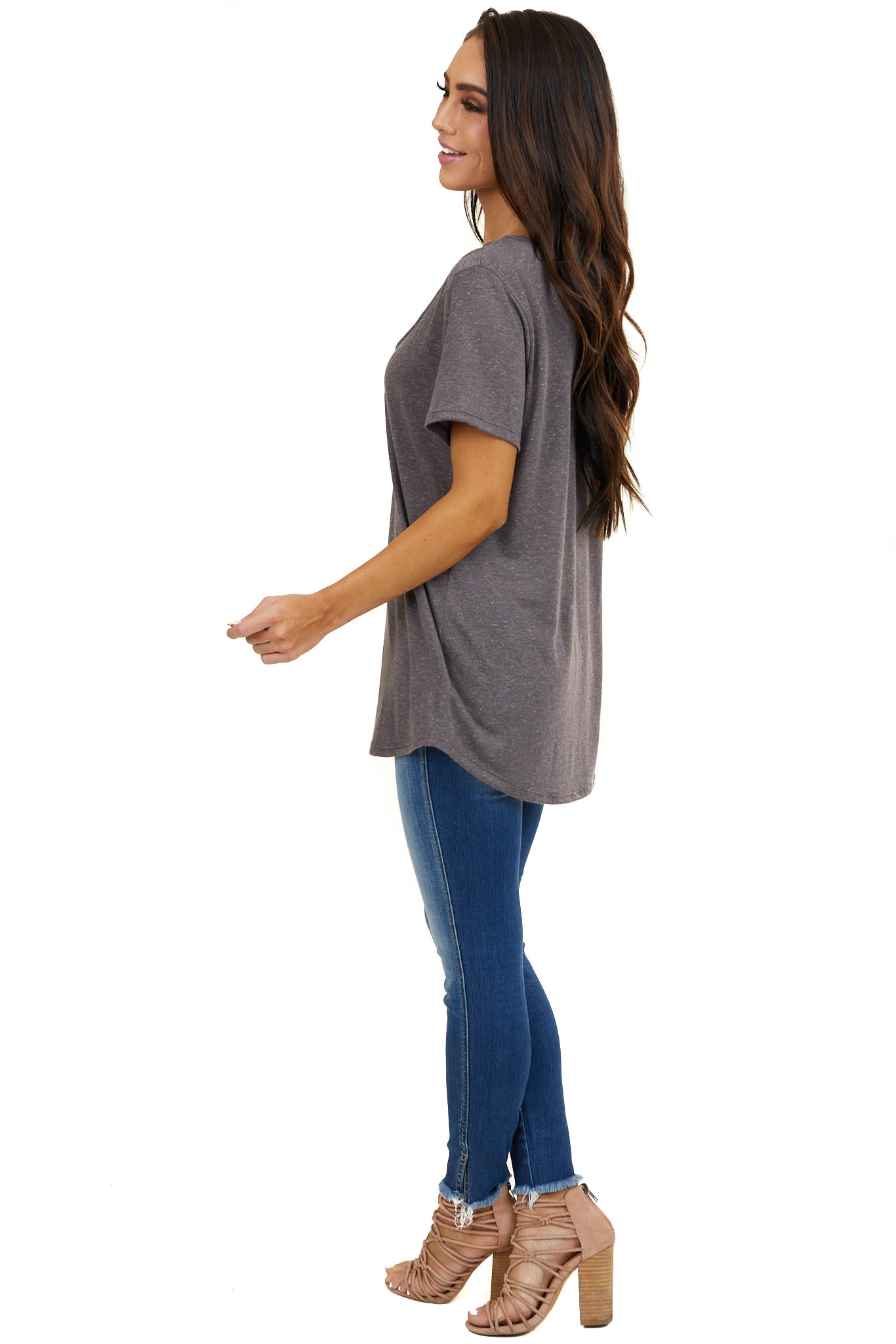 Heathered Stormy Grey Knit Top with Caged Neckline Detail
