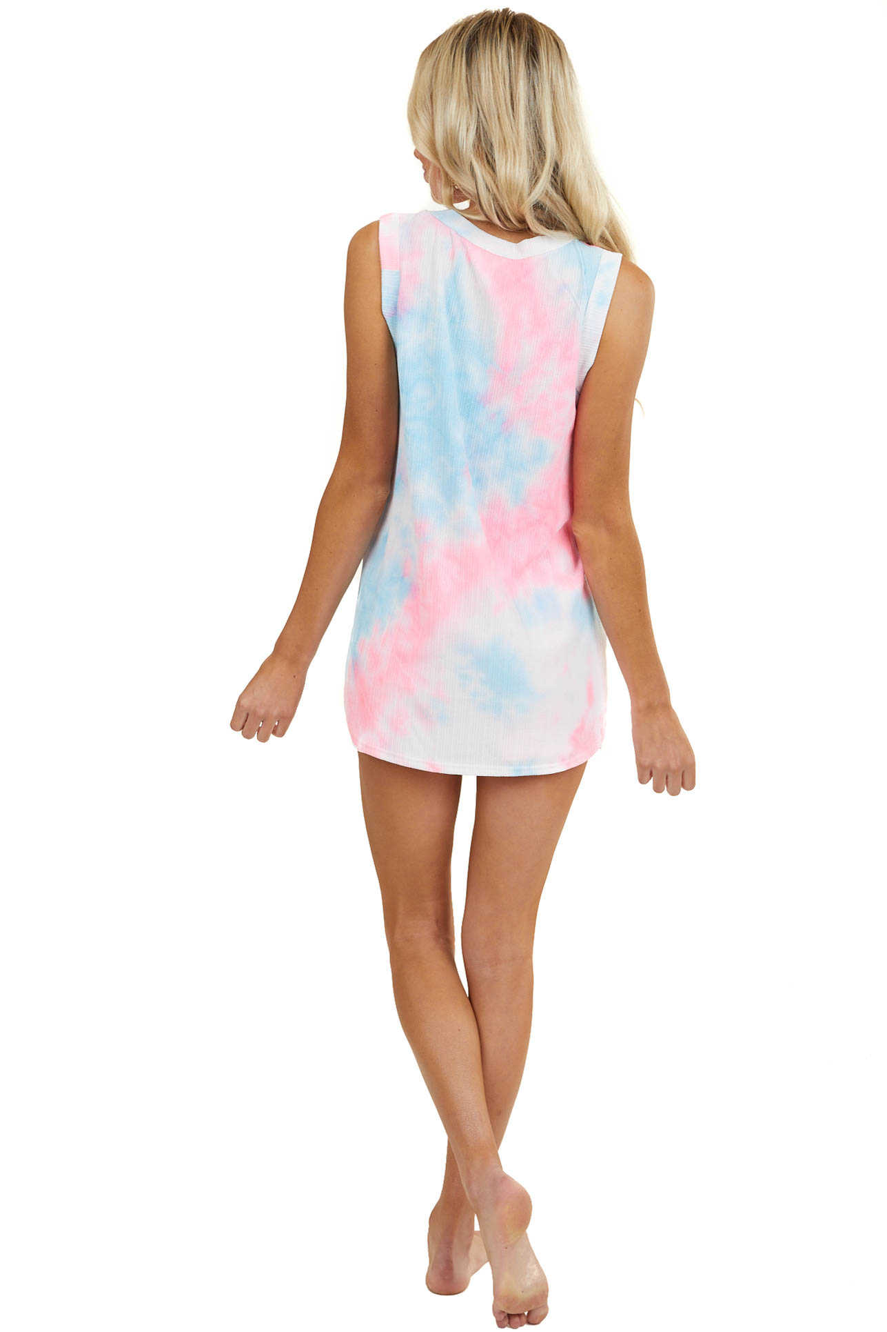 Bright Pink and Blue Tie Dye Tank and Shorts Two Piece Set