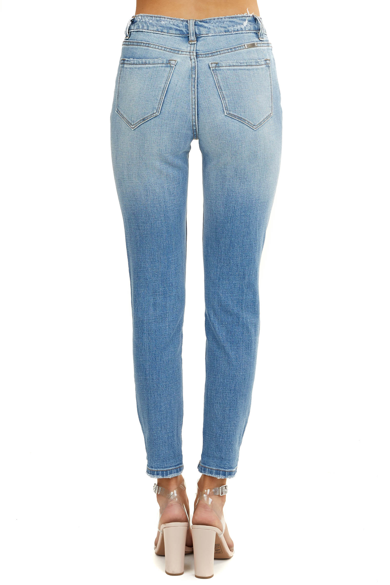 Light Wash Mid Rise Boyfriend Jeans with Leopard Patches