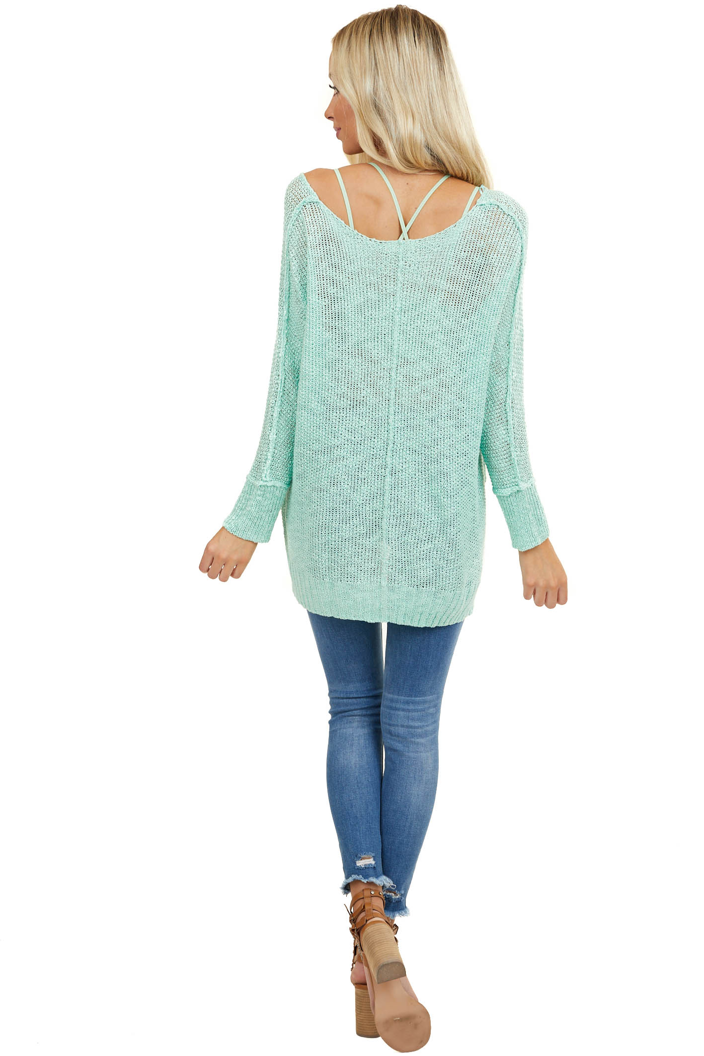 Mint Knit Lightweight Sweater with Long Sleeves