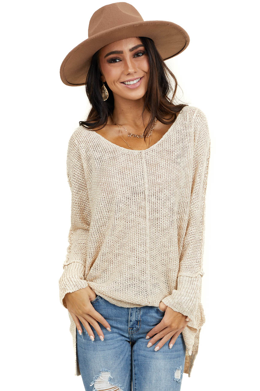 Beige Knit Lightweight Sweater with Long Sleeves