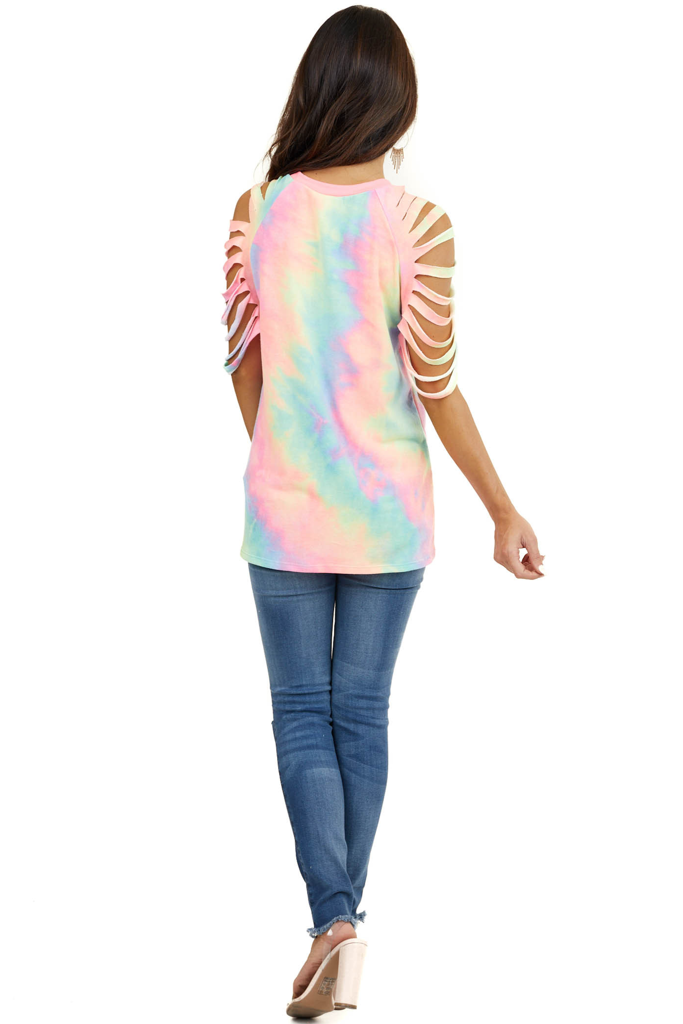 Neon Rainbow Tie Dye Top with Ladder Cutout Sleeves
