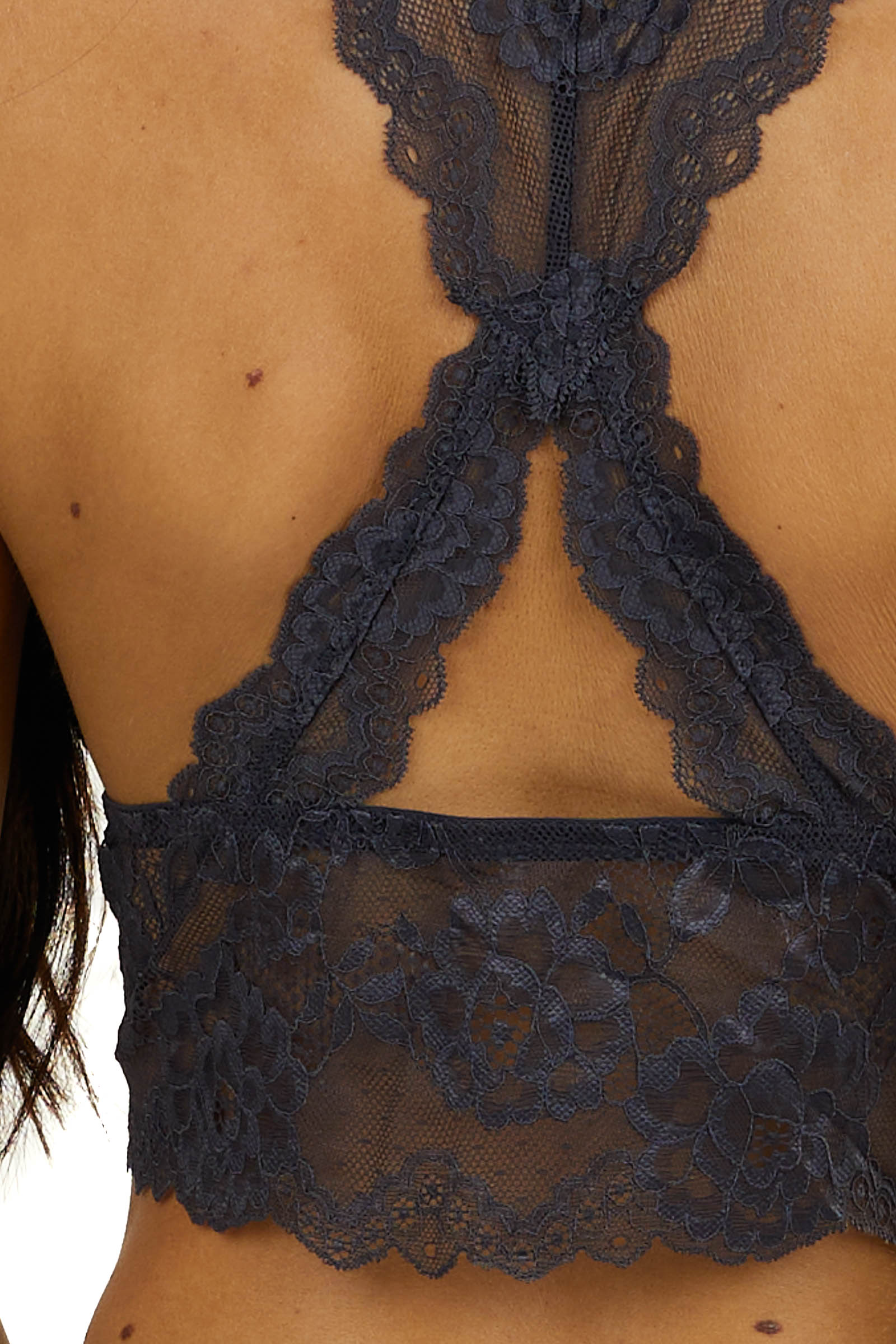 Charcoal Floral Lace Bralette with Criss Cross Back