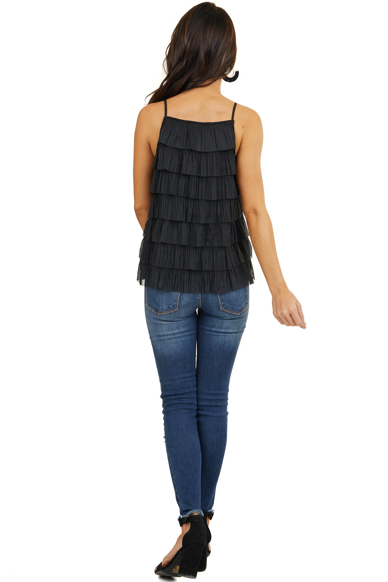 Black Woven Top with Ruffle Tiers and Spaghetti Straps