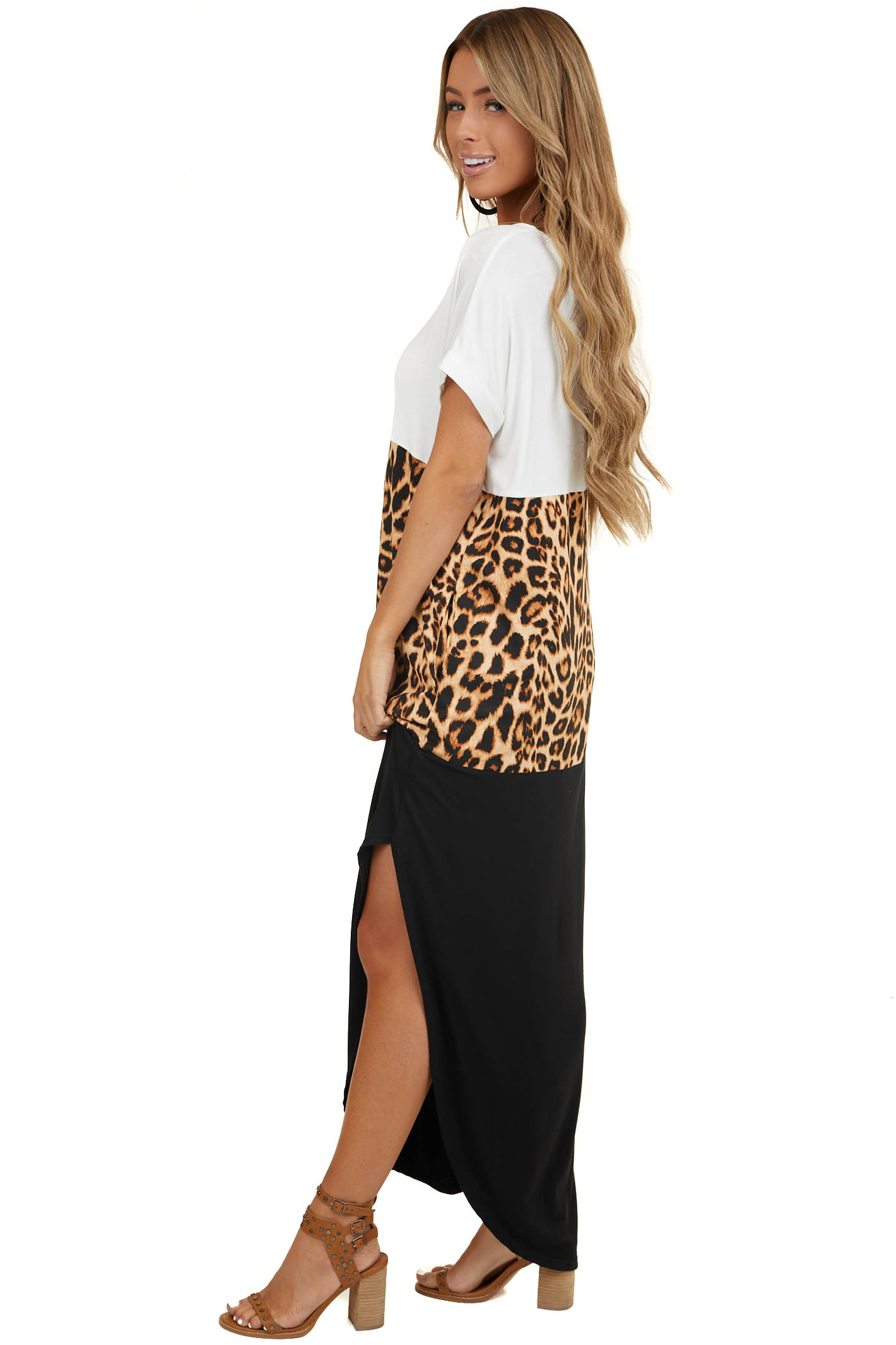 Ivory and Black Leopard Print Color Block Maxi Dress