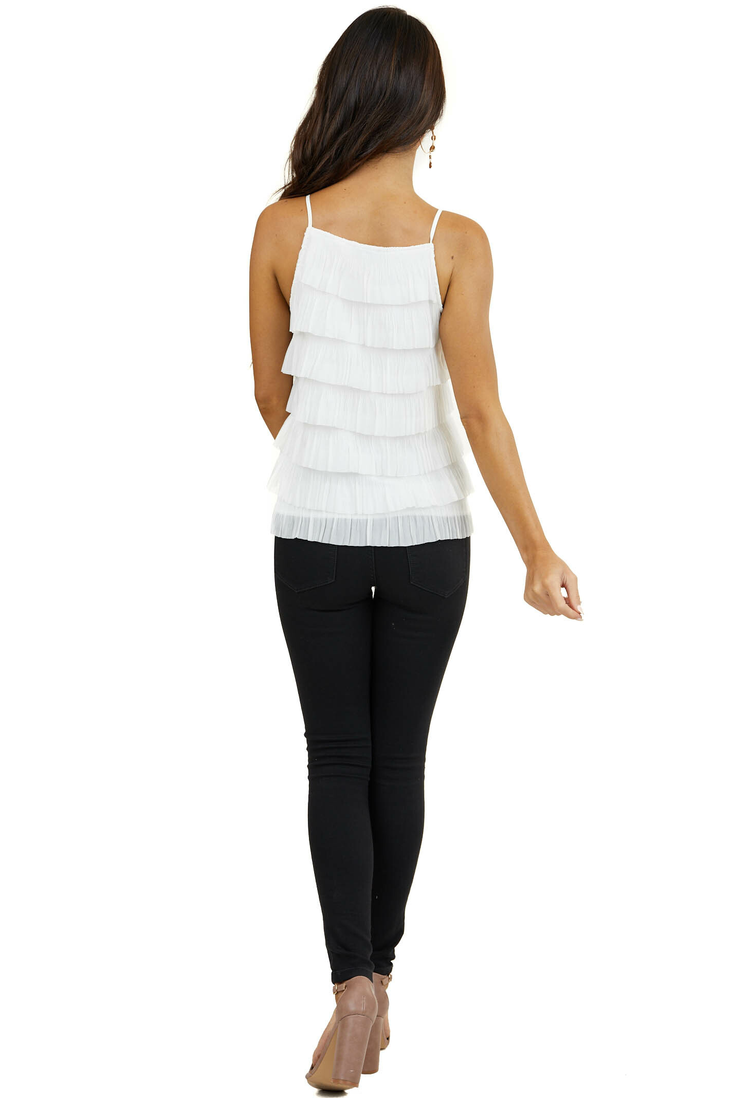 White Woven Top with Ruffle Tiers and Spaghetti Straps