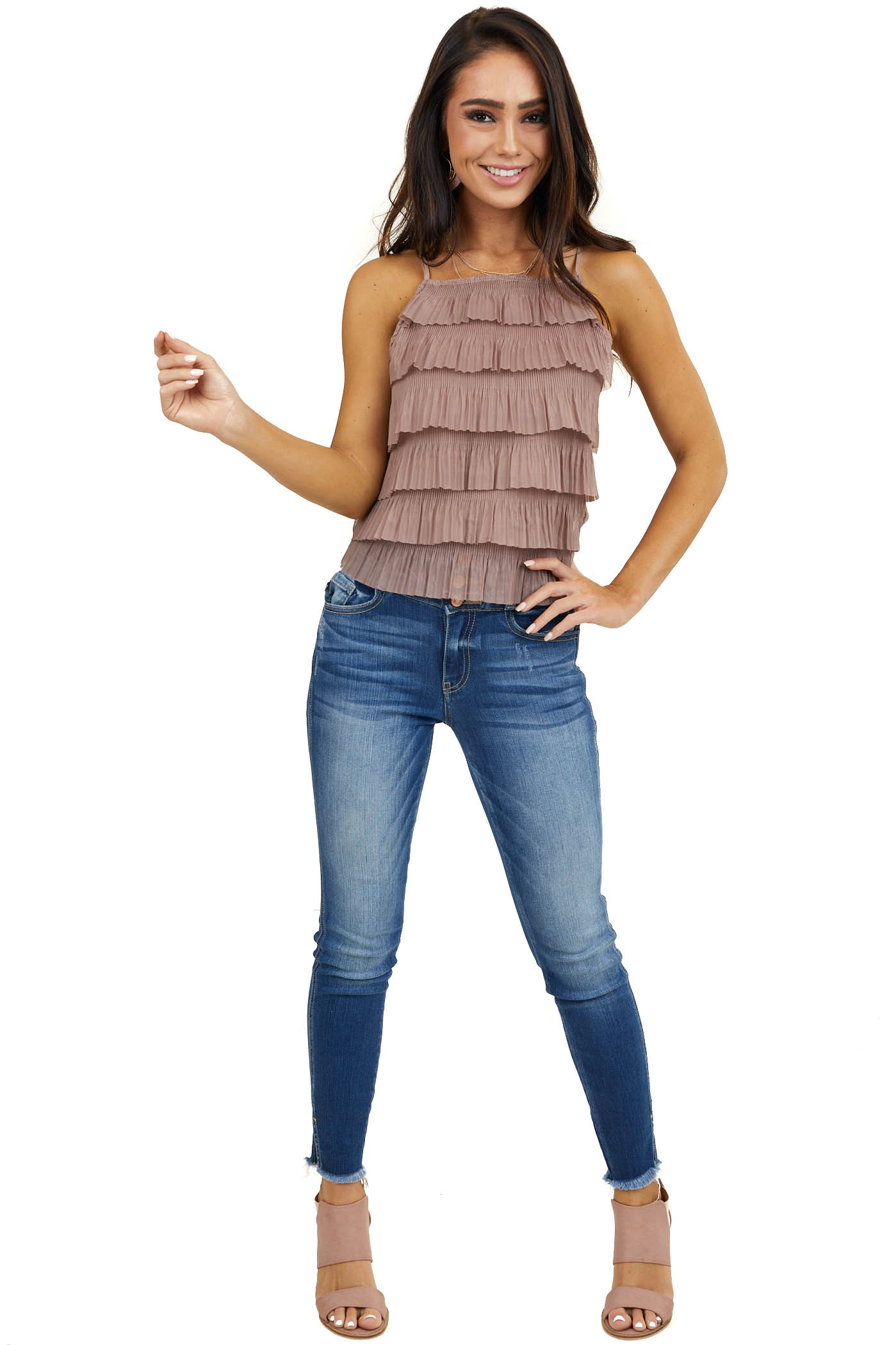 Taupe Woven Top with Ruffle Tiers and Spaghetti Straps