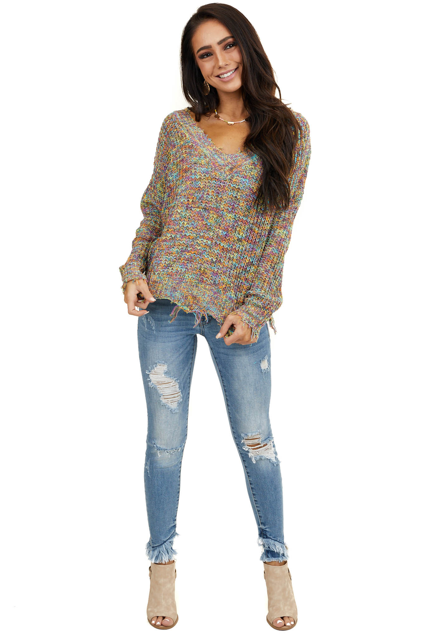 Multicolor V Neck Knit Sweater with Frayed Hems