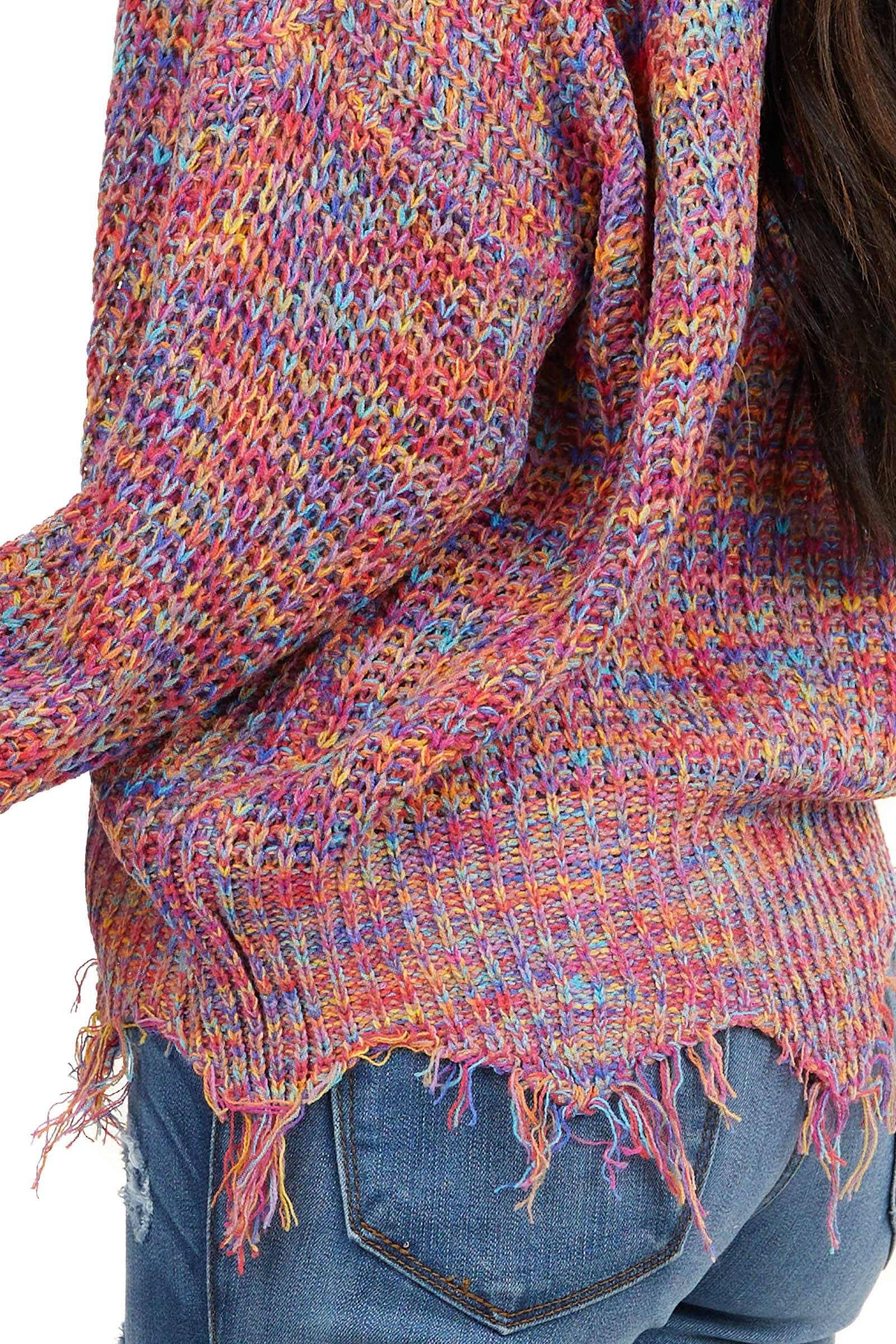 Pink Multicolor V Neck Knit Sweater with Frayed Hems