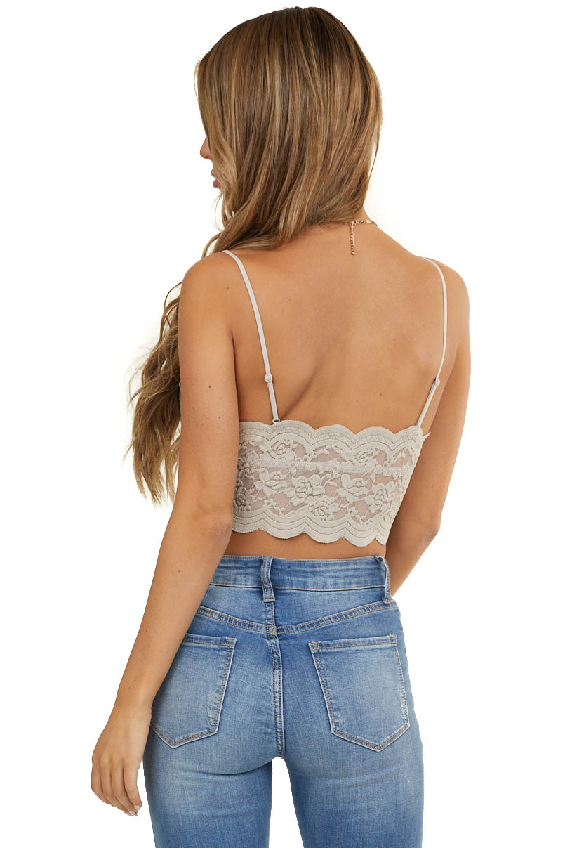 Oatmeal Floral Lace Bralette with Scalloped Details