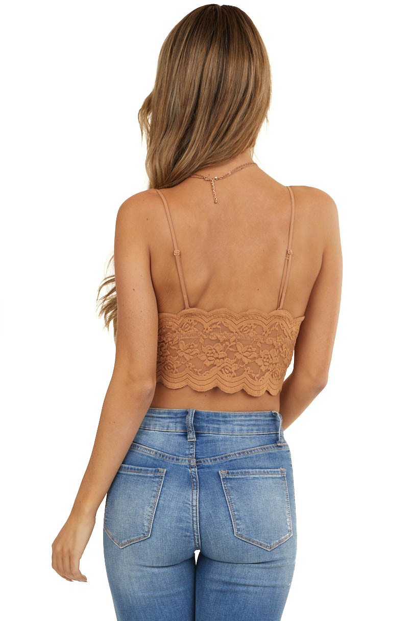 Dusty Apricot Floral Lace Bralette with Scalloped Details