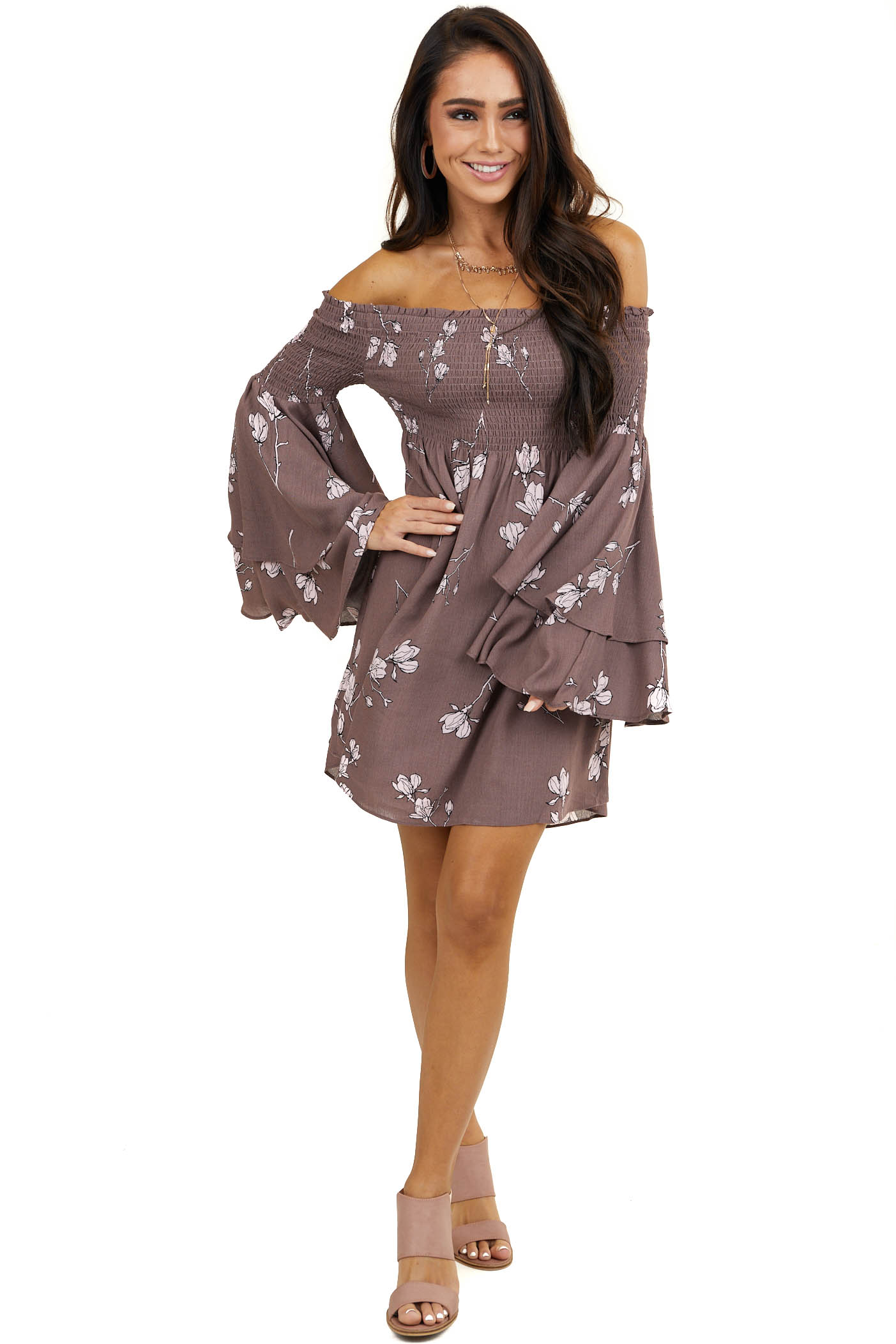 Chocolate Floral Off Shoulder Dress with Long Flare Sleeves