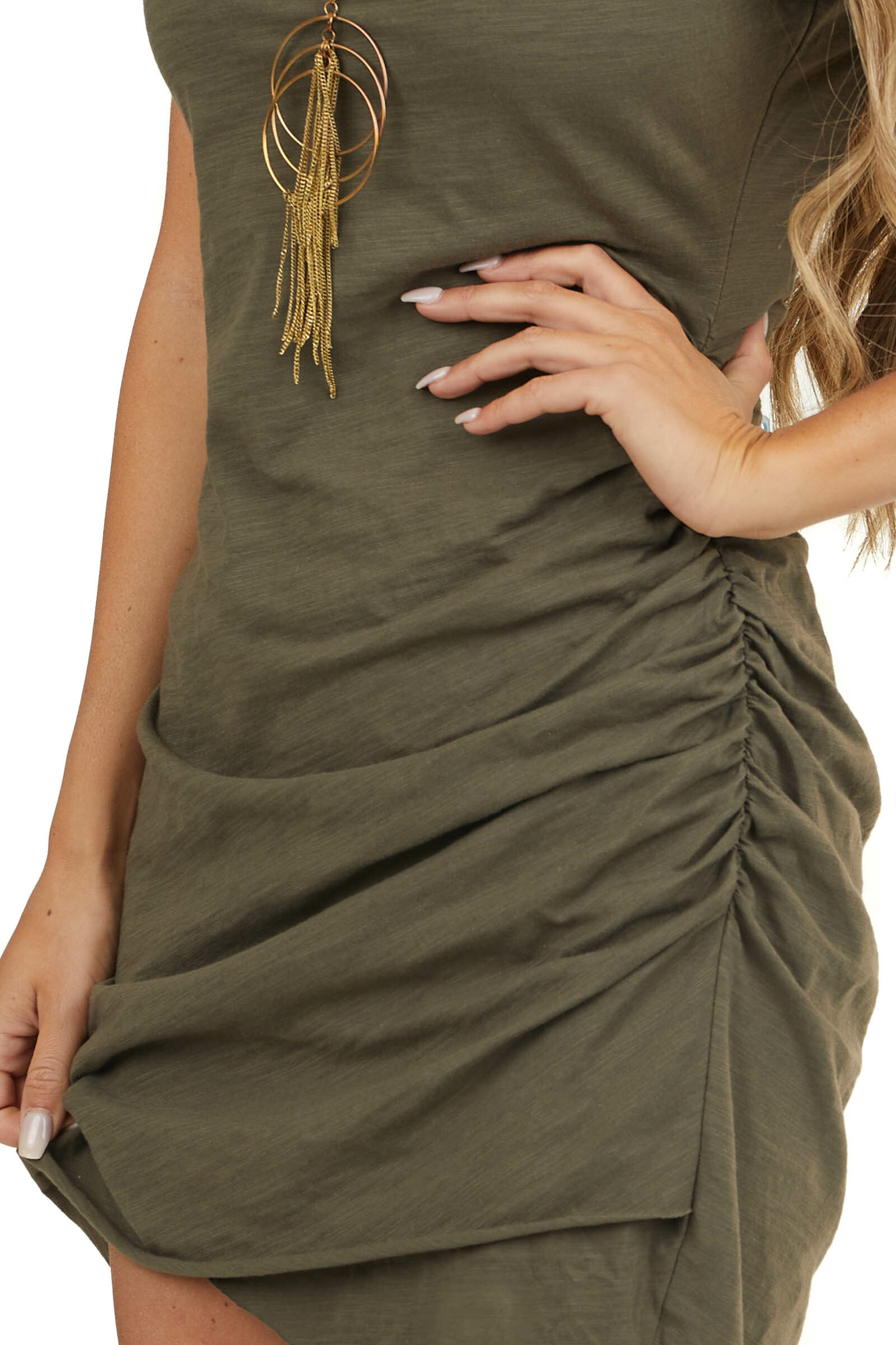 Olive Short Sleeve Mini Dress with Ruched Details