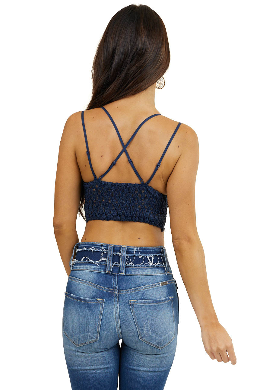 Navy Floral Lace Bralette with Criss Cross Straps