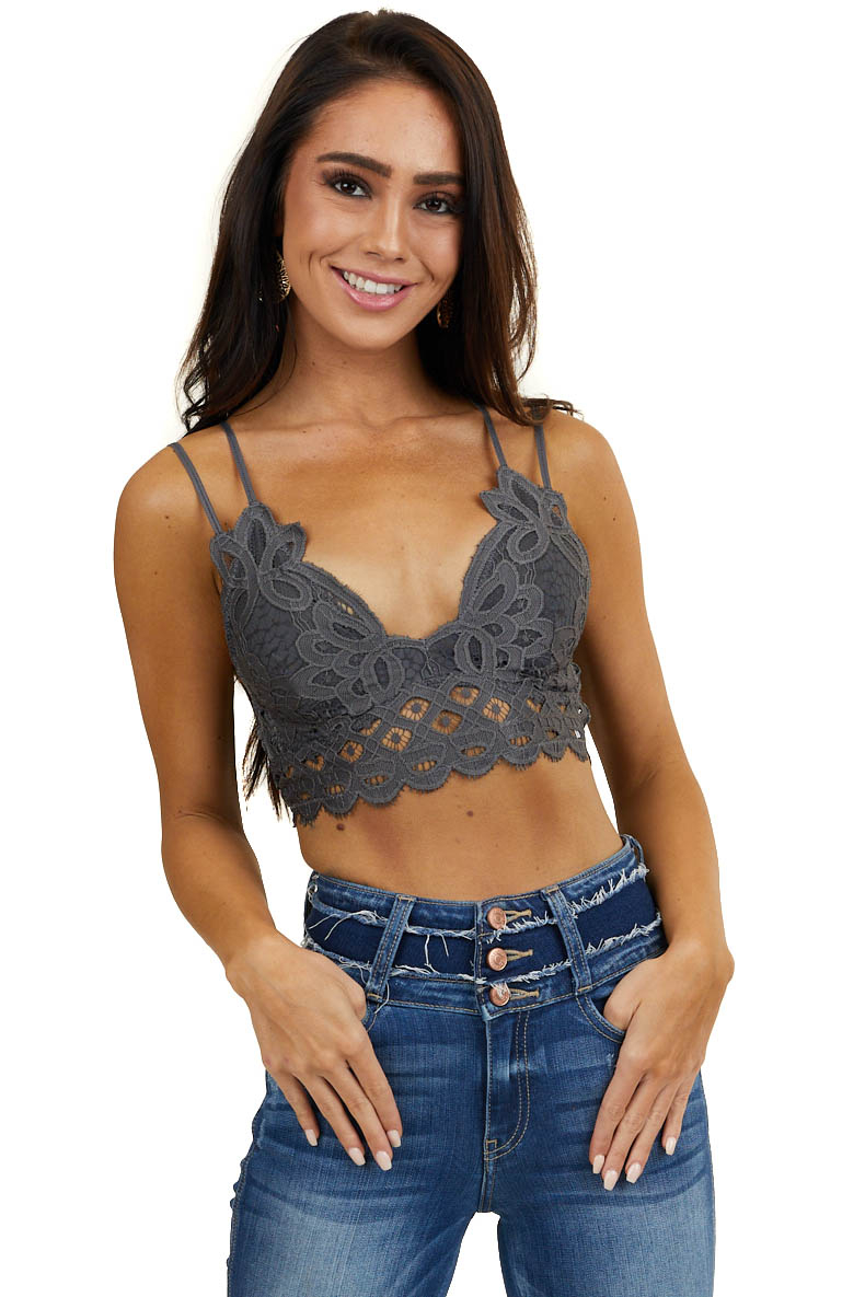 Dark Grey Floral Lace Bralette with Criss Cross Straps