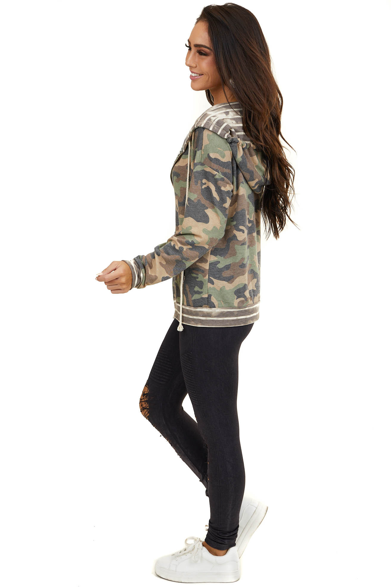 Olive Green Camo Hoodie with Front Zipper and Striped Hood