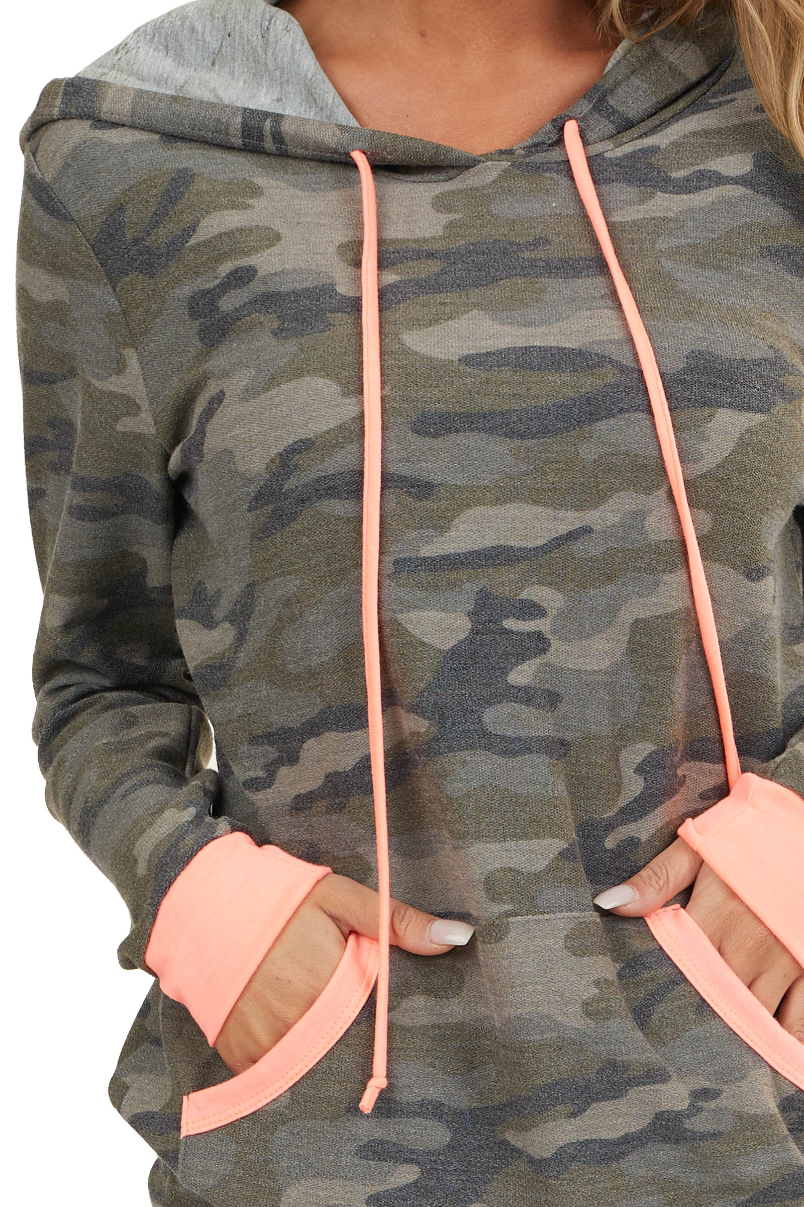 Hunter Green Camo Pullover Hoodie with Bright Coral Details