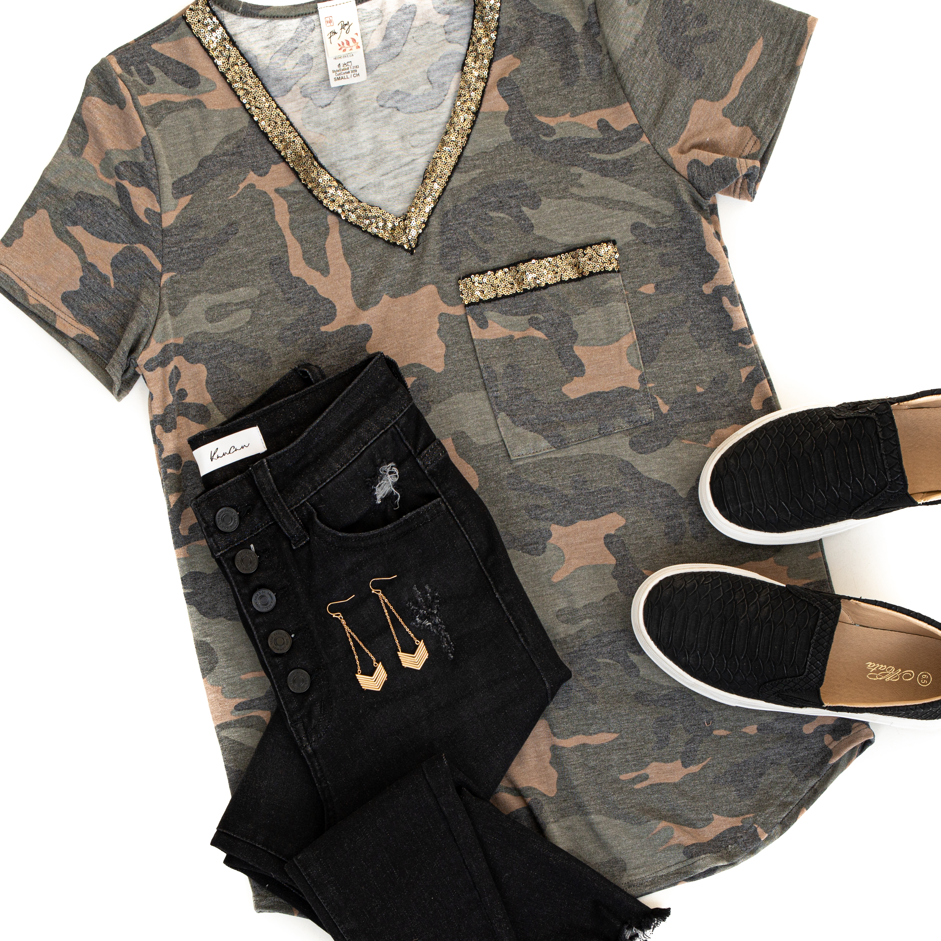 Olive Green Camo Short Sleeve Knit Top with Gold Sequins