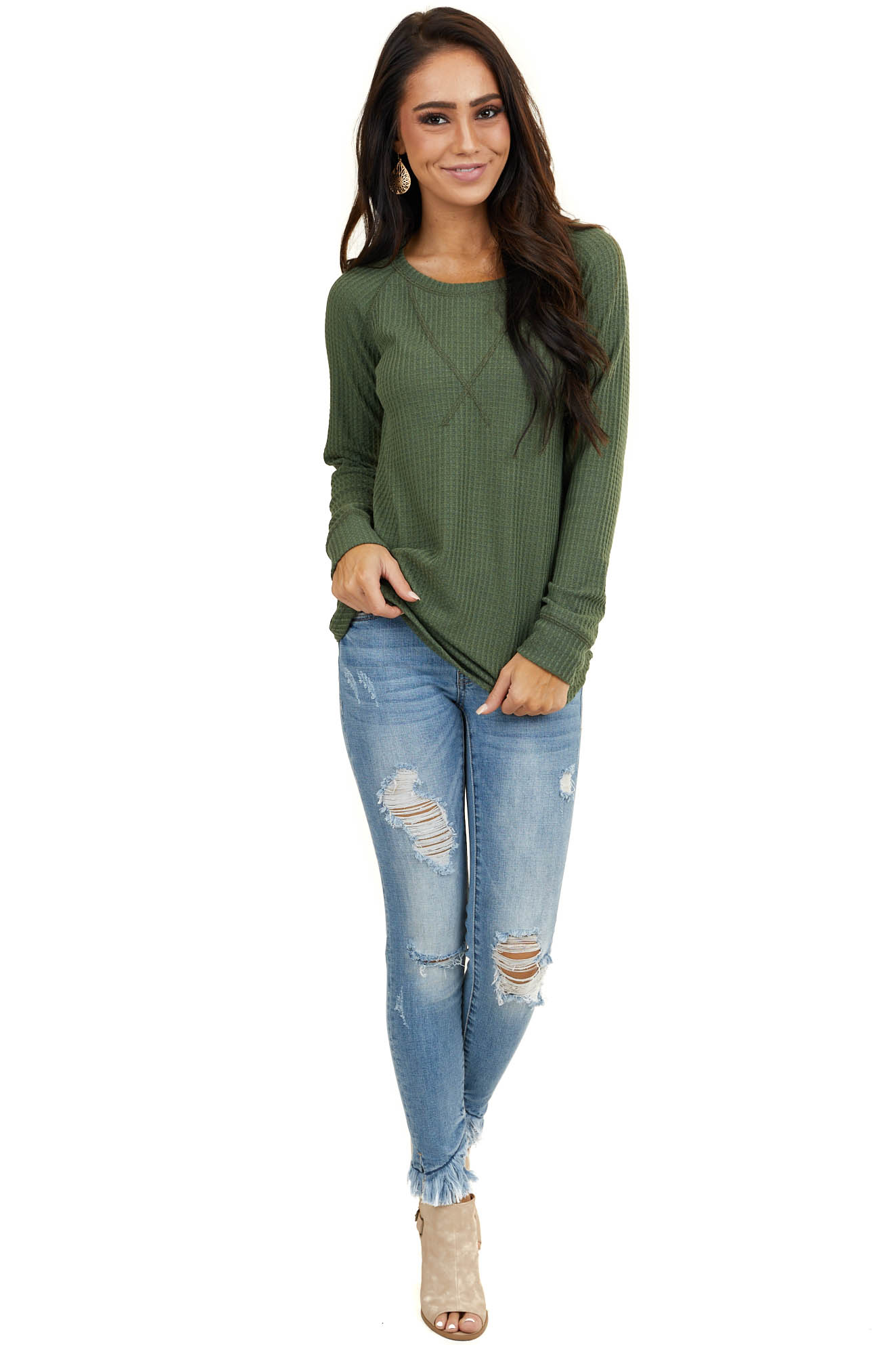 Olive Green Waffle Knit Long Sleeve Top with V Stitch
