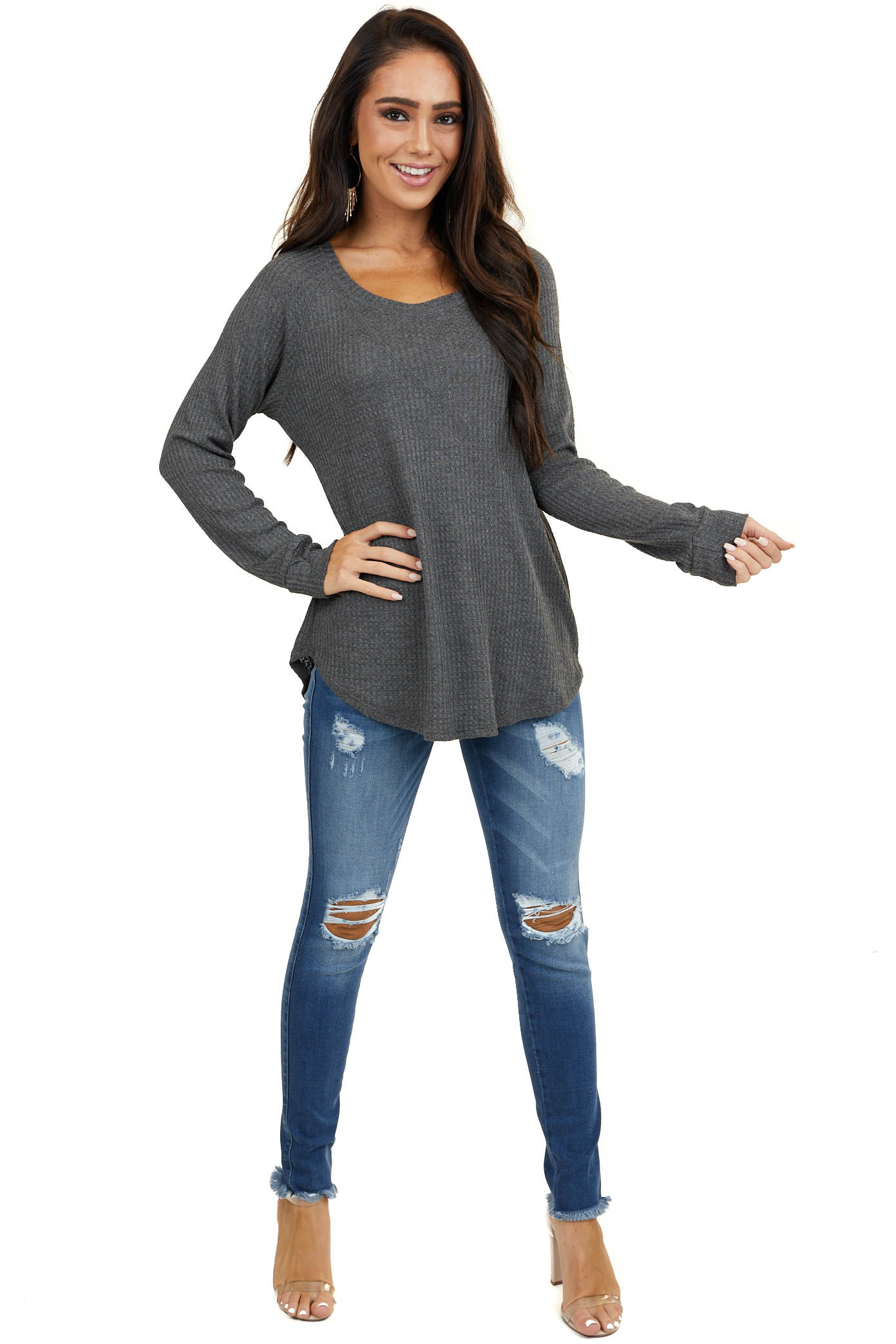 Stormy Grey Waffle Knit Long Sleeve Top with V Stitch