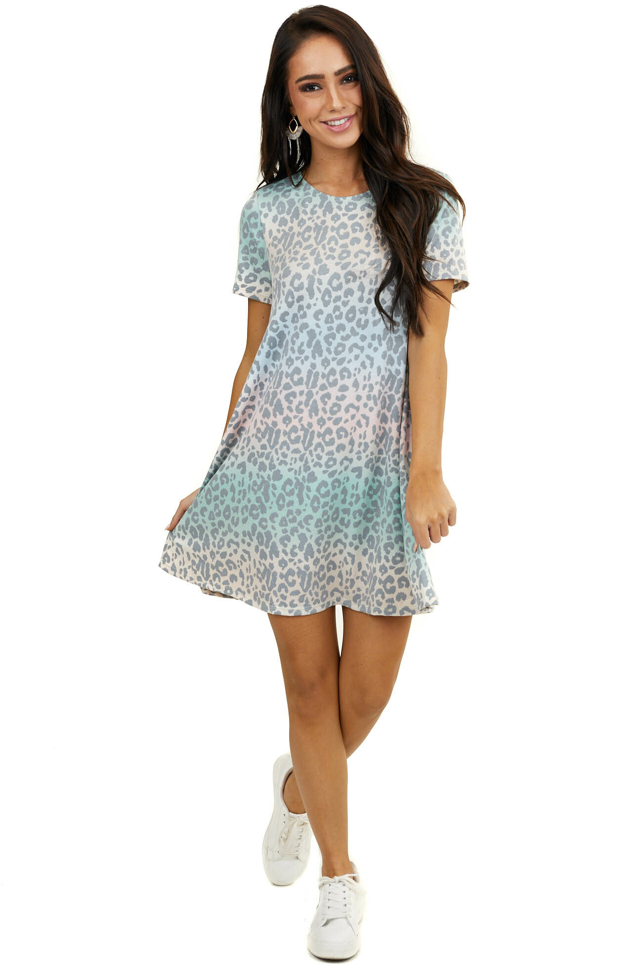 Multicolor Leopard Print Mini Dress with Hidden Pockets