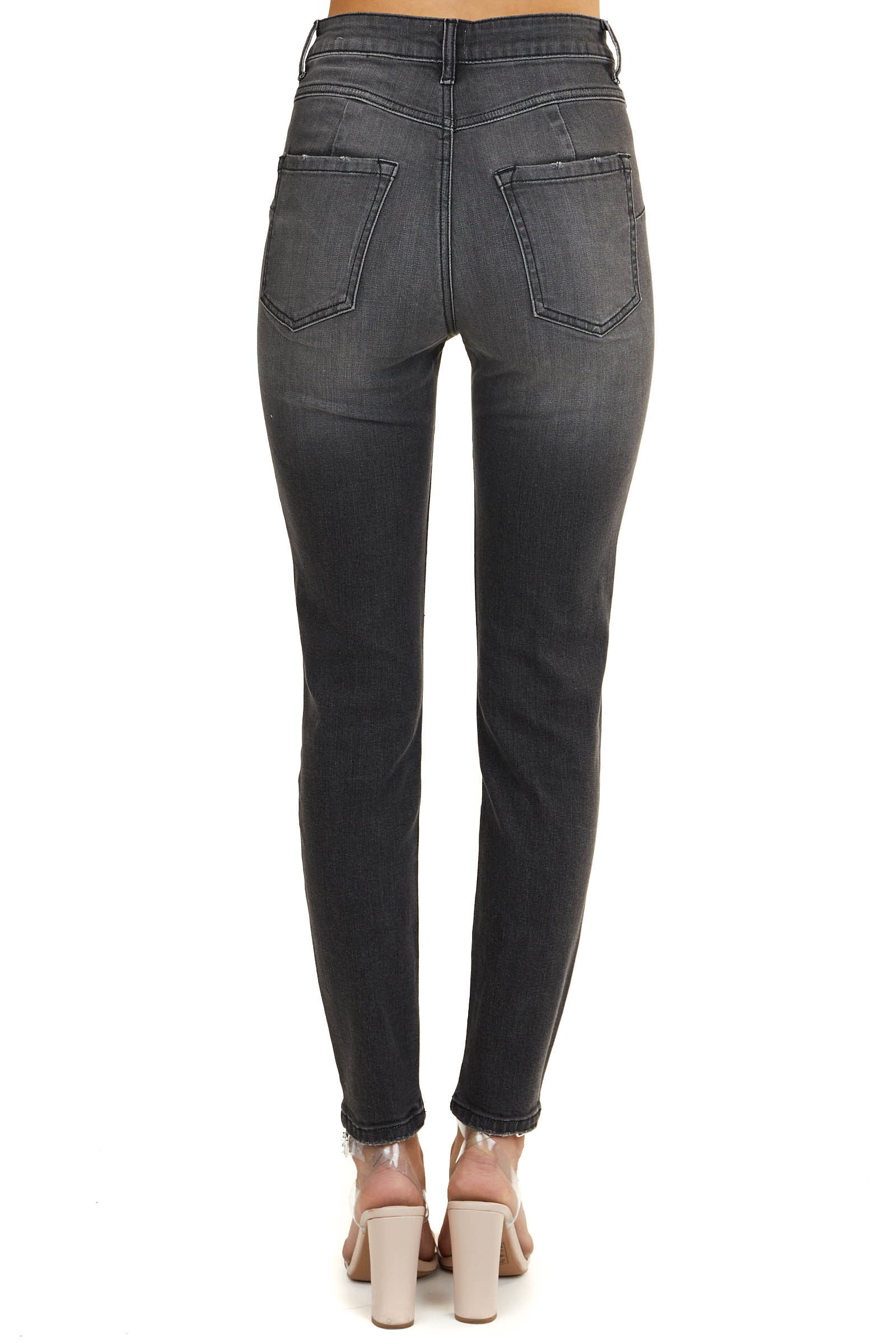 Faded Black High Rise Skinny Jeans with Button Up Front