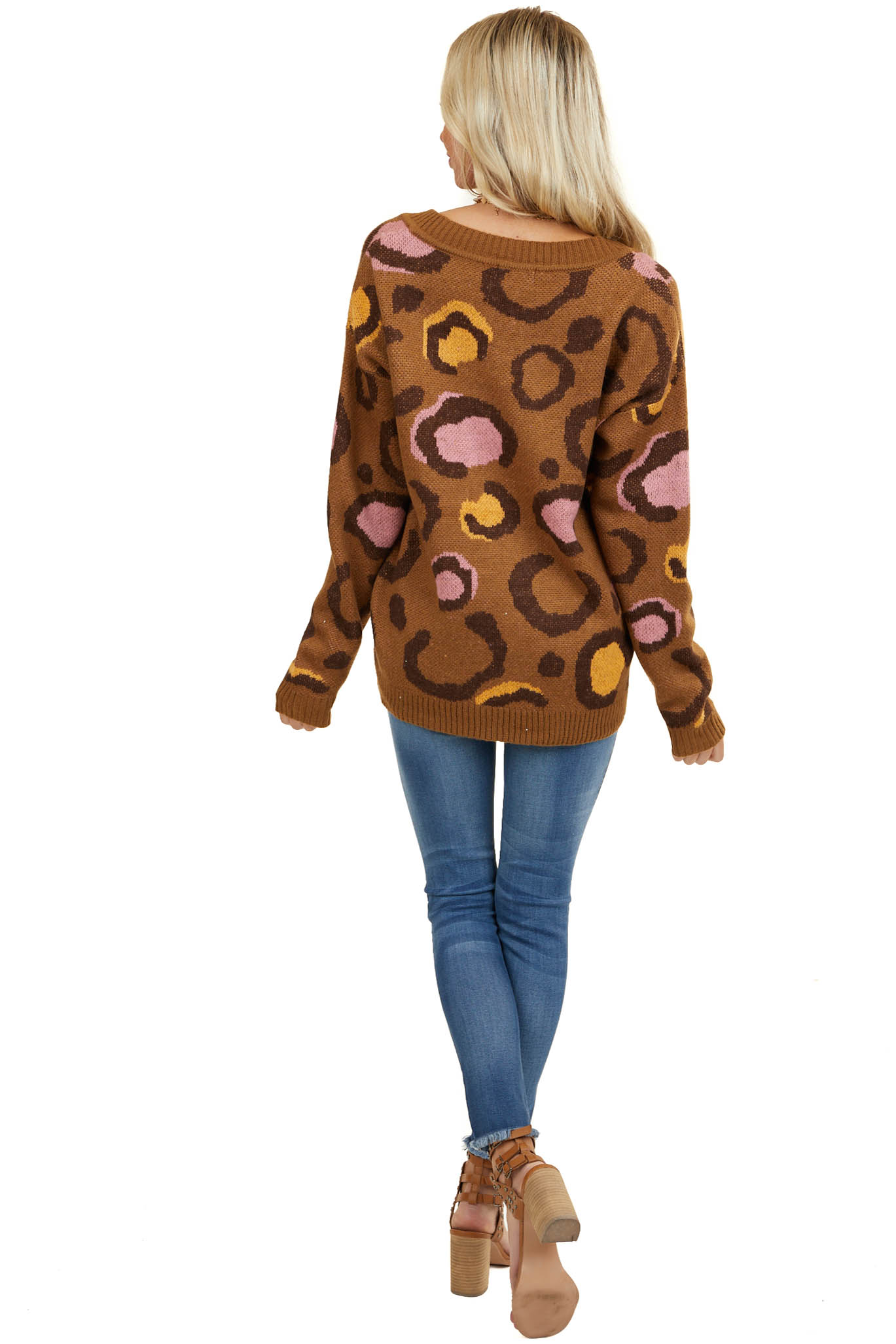 Camel Knit Sweater with Large Multicolor Leopard Print