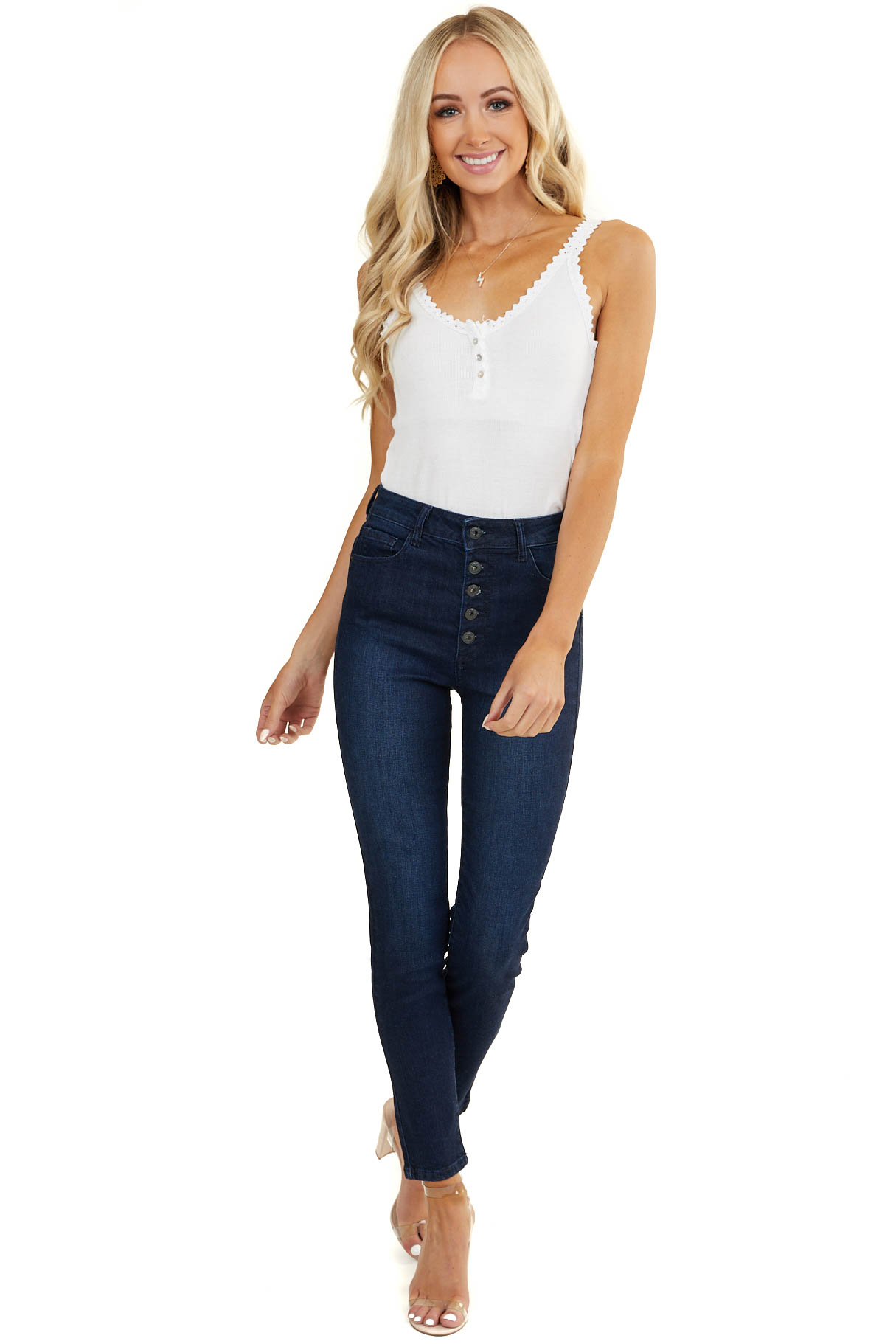 Dark Wash High Rise Skinny Jeans with Button Up Front