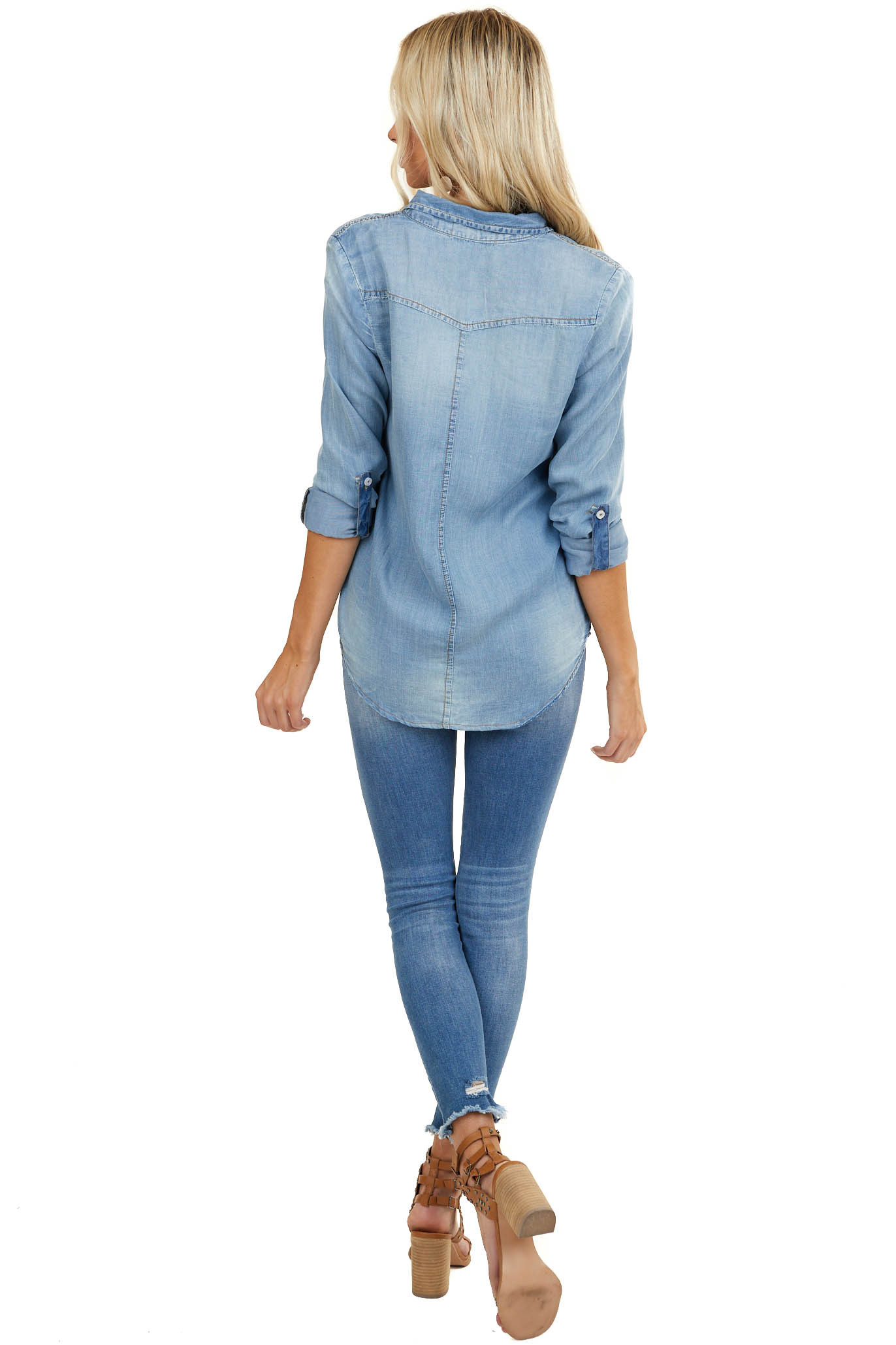 Mid Wash Denim Long Sleeve Button Up Top with Front Pockets