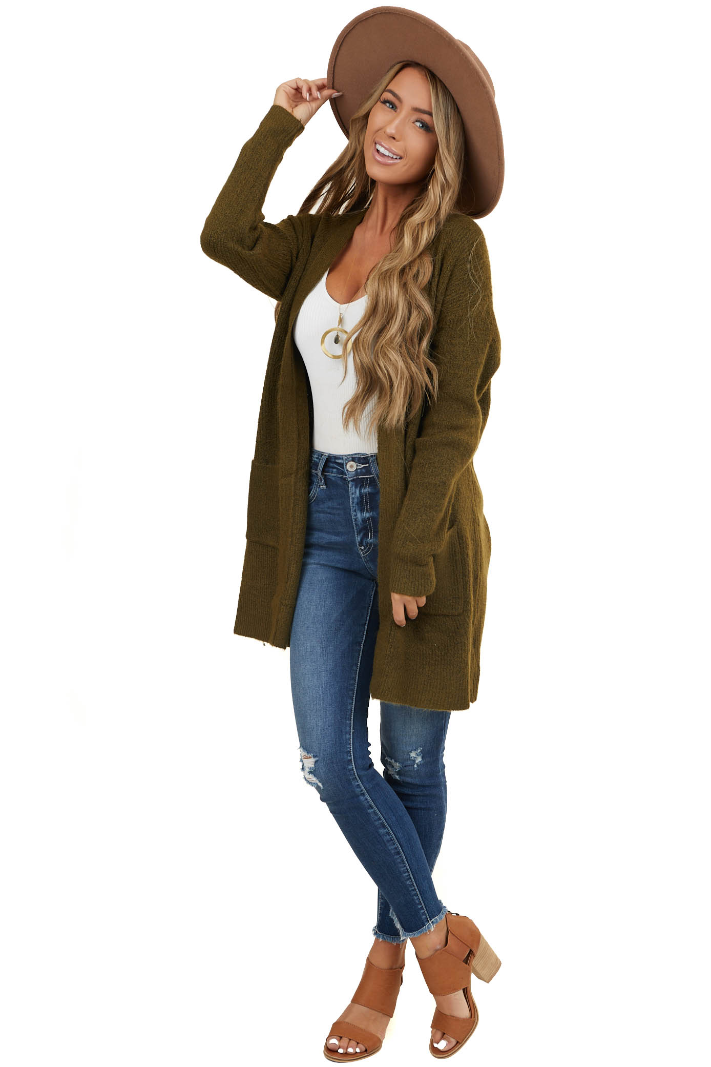 Olive Green Open Front Sweater Cardigan with Pockets
